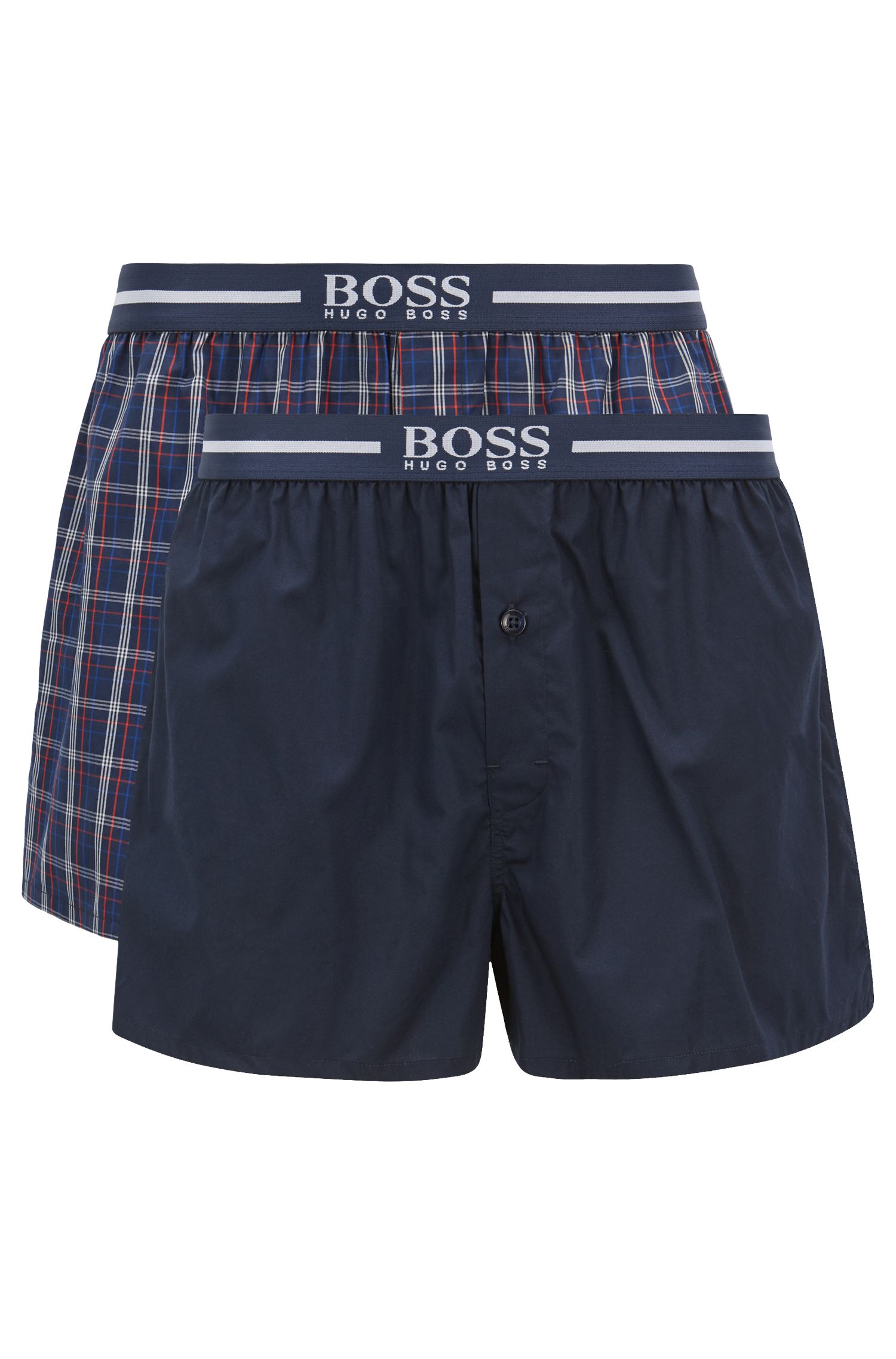 Two-pack of cotton pyjama shorts with logo waistband, Blue