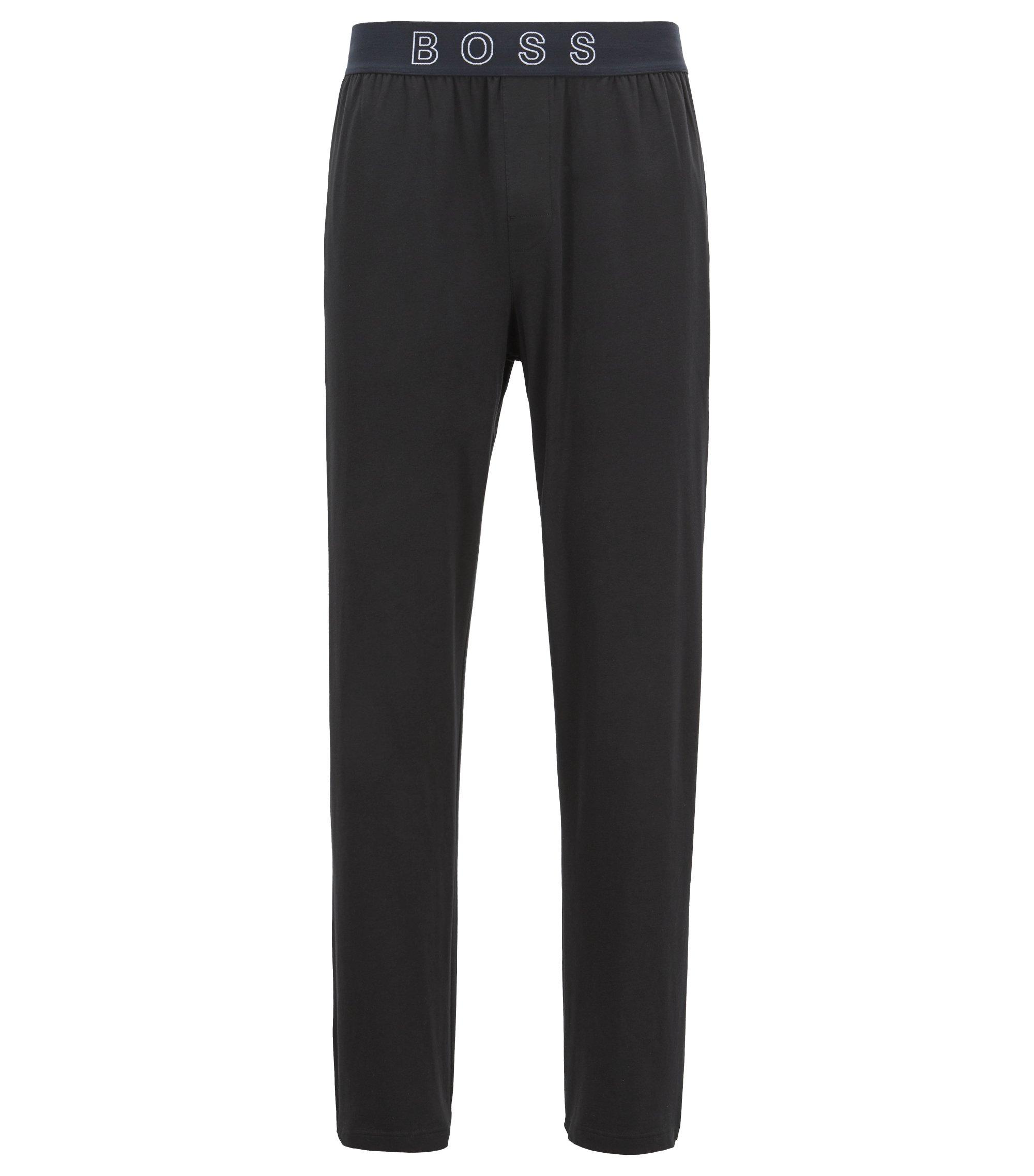 Pyjama trousers in stretch cotton with logo waistband, Black