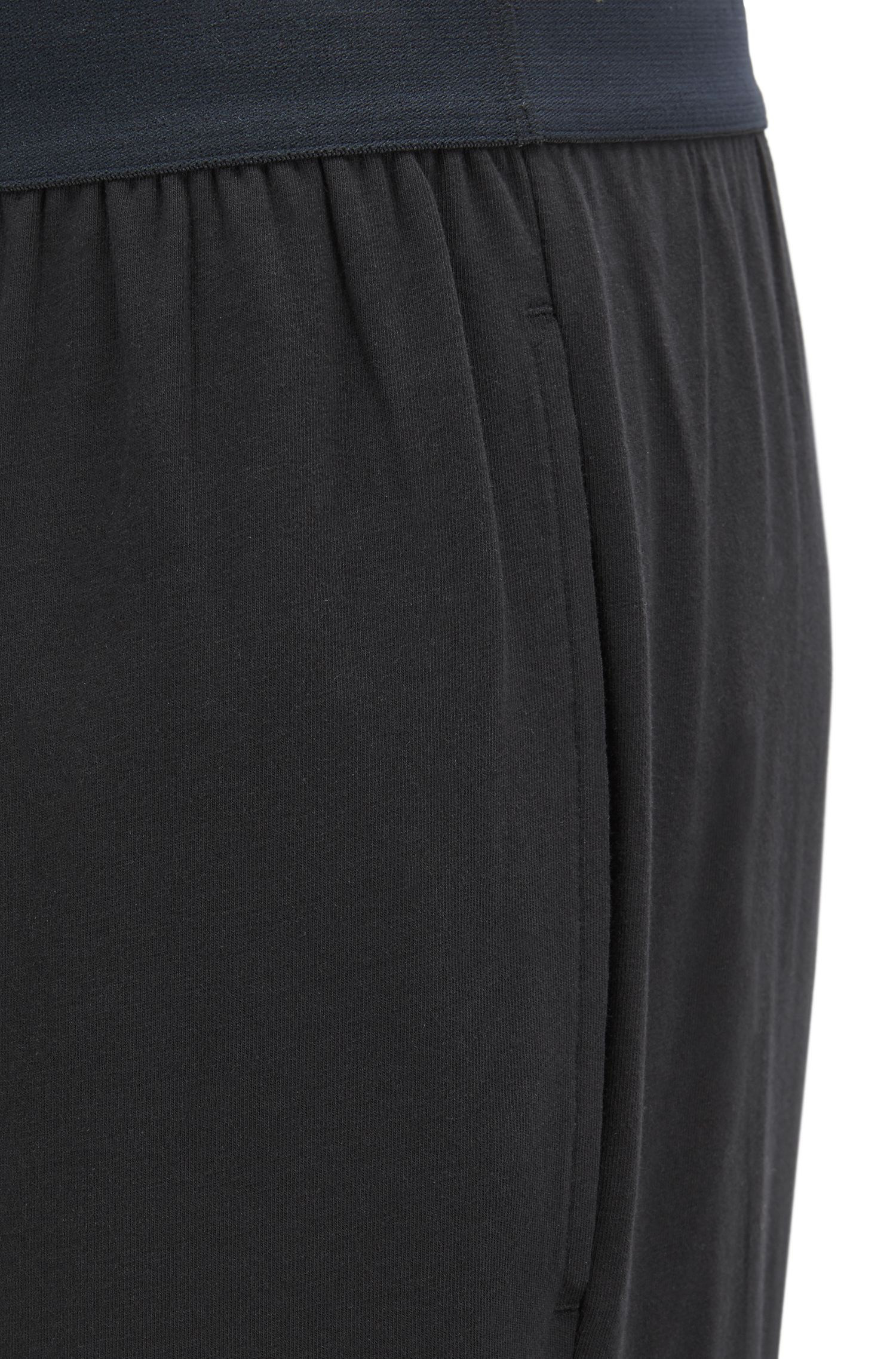 Pyjama trousers in stretch cotton with logo waistband, Black
