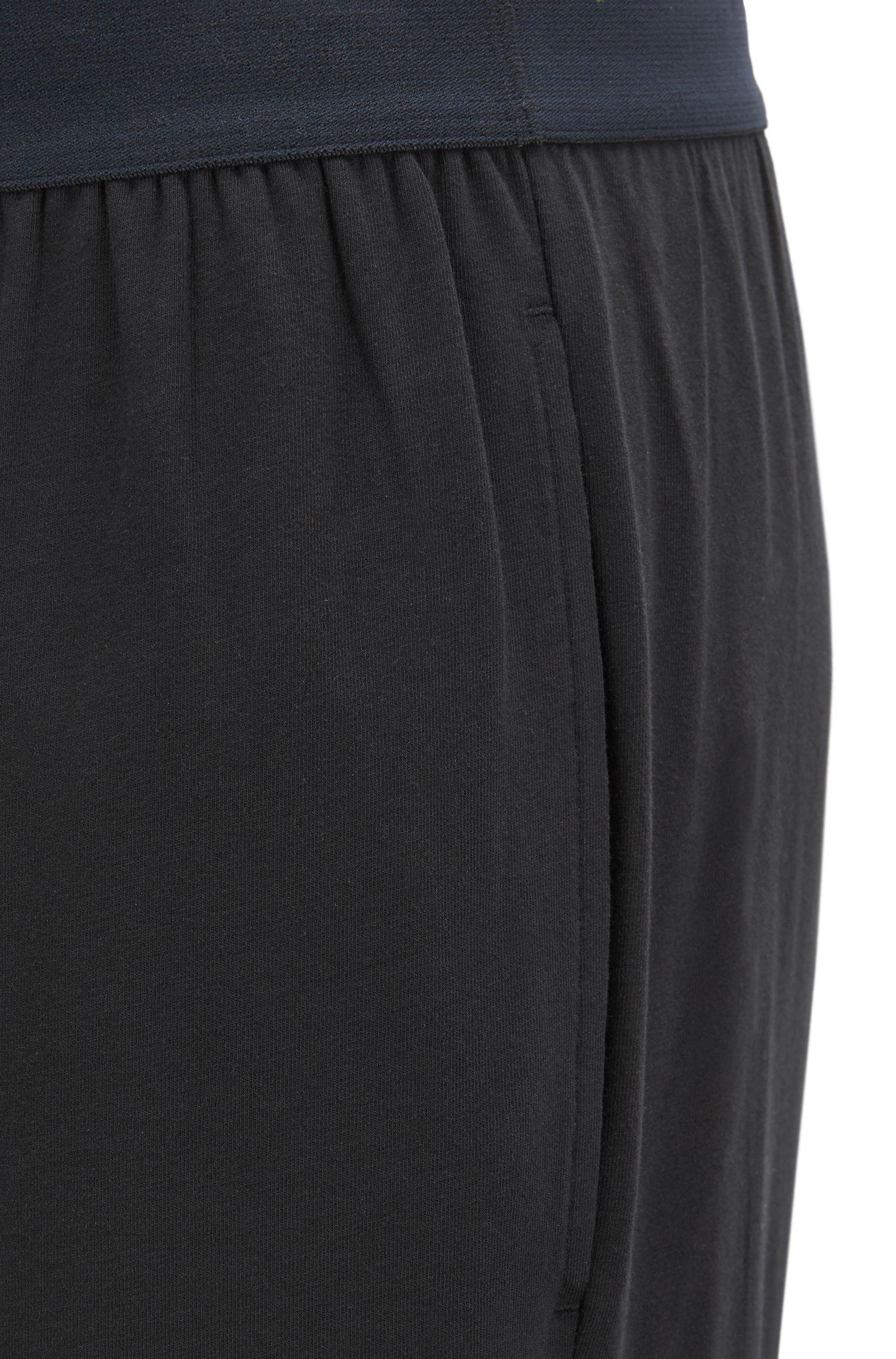 Pantaloni del pigiama in cotone elasticizzato con logo in vita, Nero