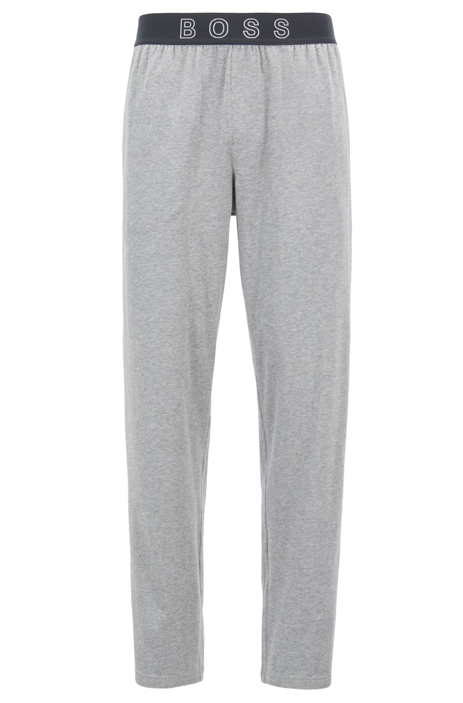 Pyjama-Hose aus Stretch-Baumwolle mit Logo-Bund, Grau
