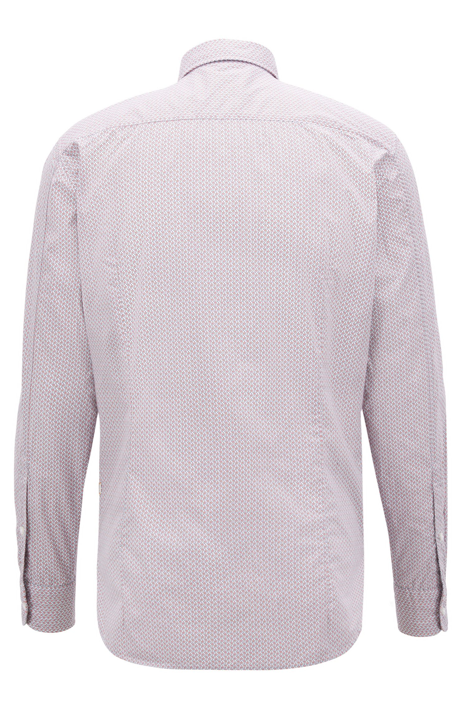 Slim-fit shirt in cotton with mini-geometric print, light pink