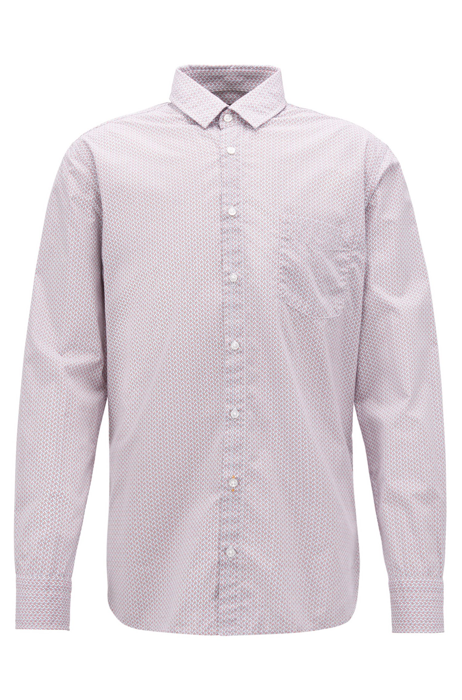 Camicia slim fit in cotone con microstampa geometrica, Rosa chiaro