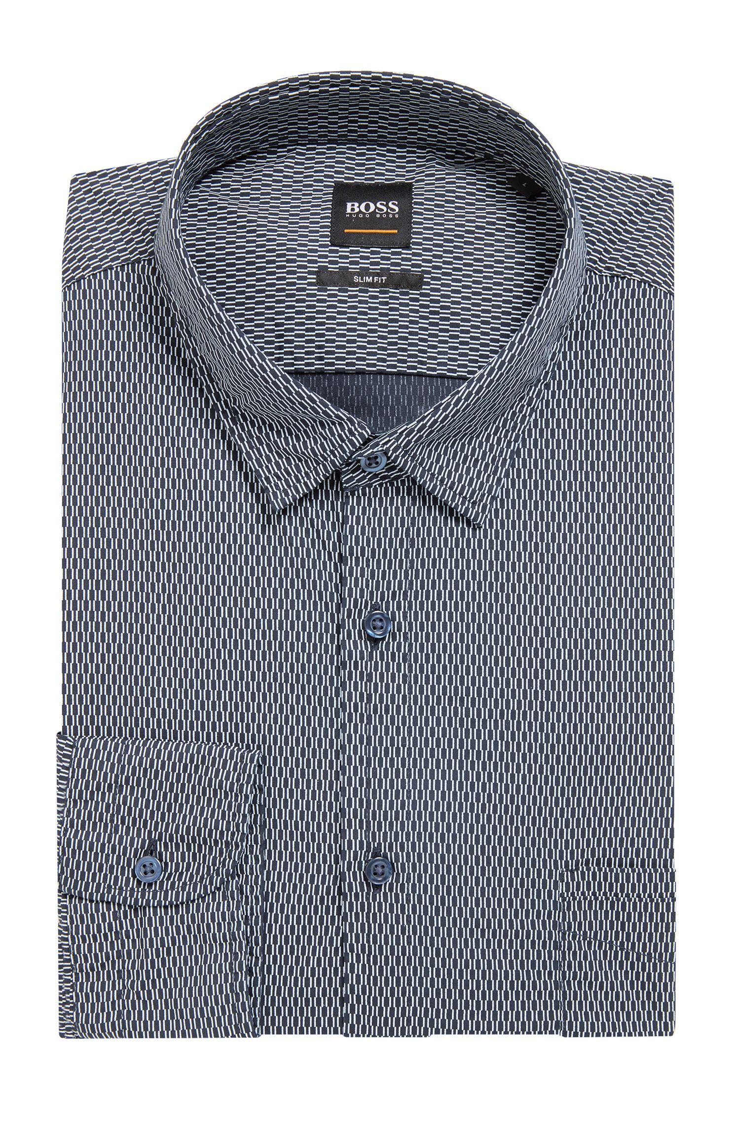 Slim-fit overhemd van katoen met kleine geometrische print, Donkerblauw