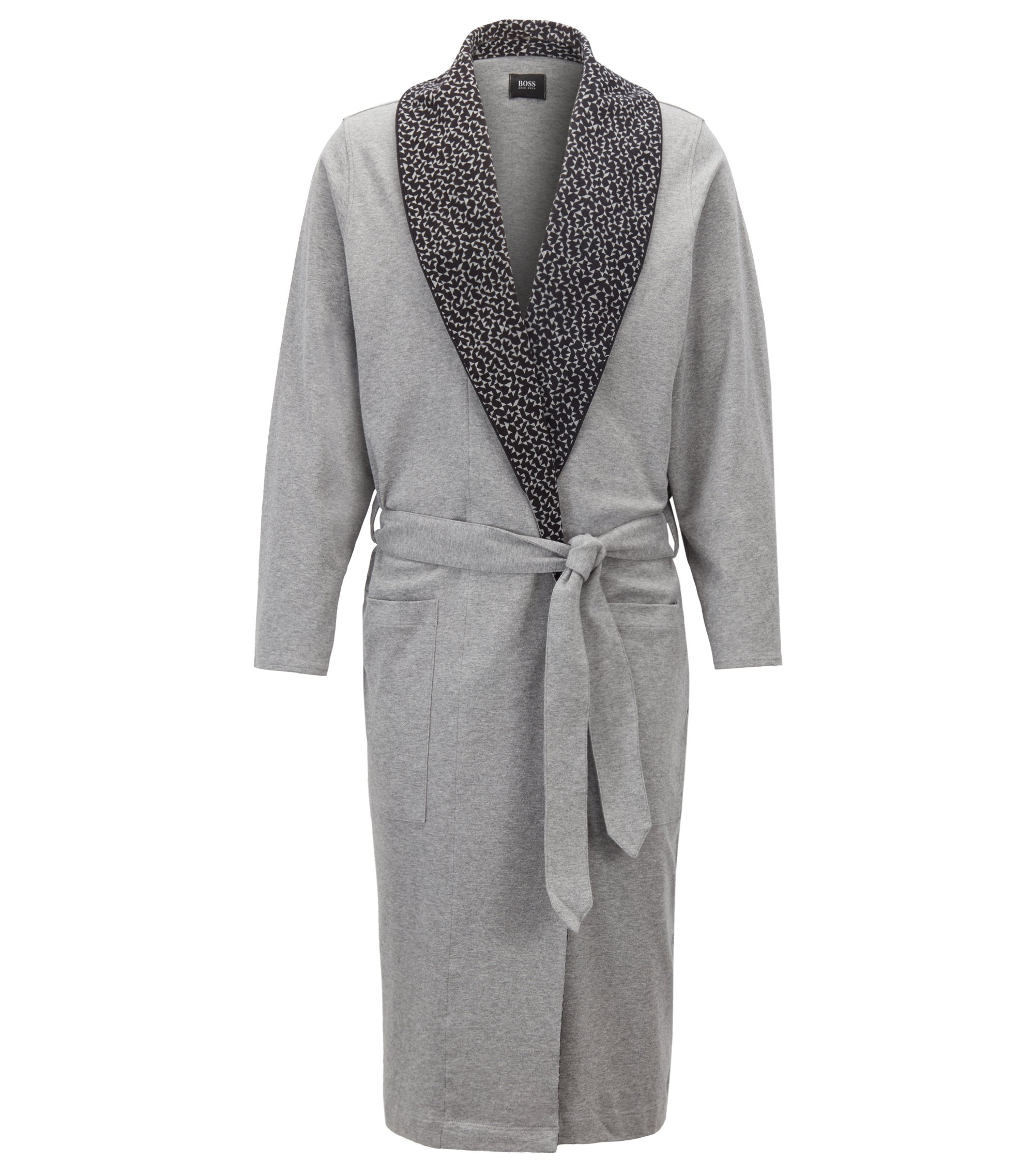 Dressing gown with lapel print inspired by Anni Albers, Grey