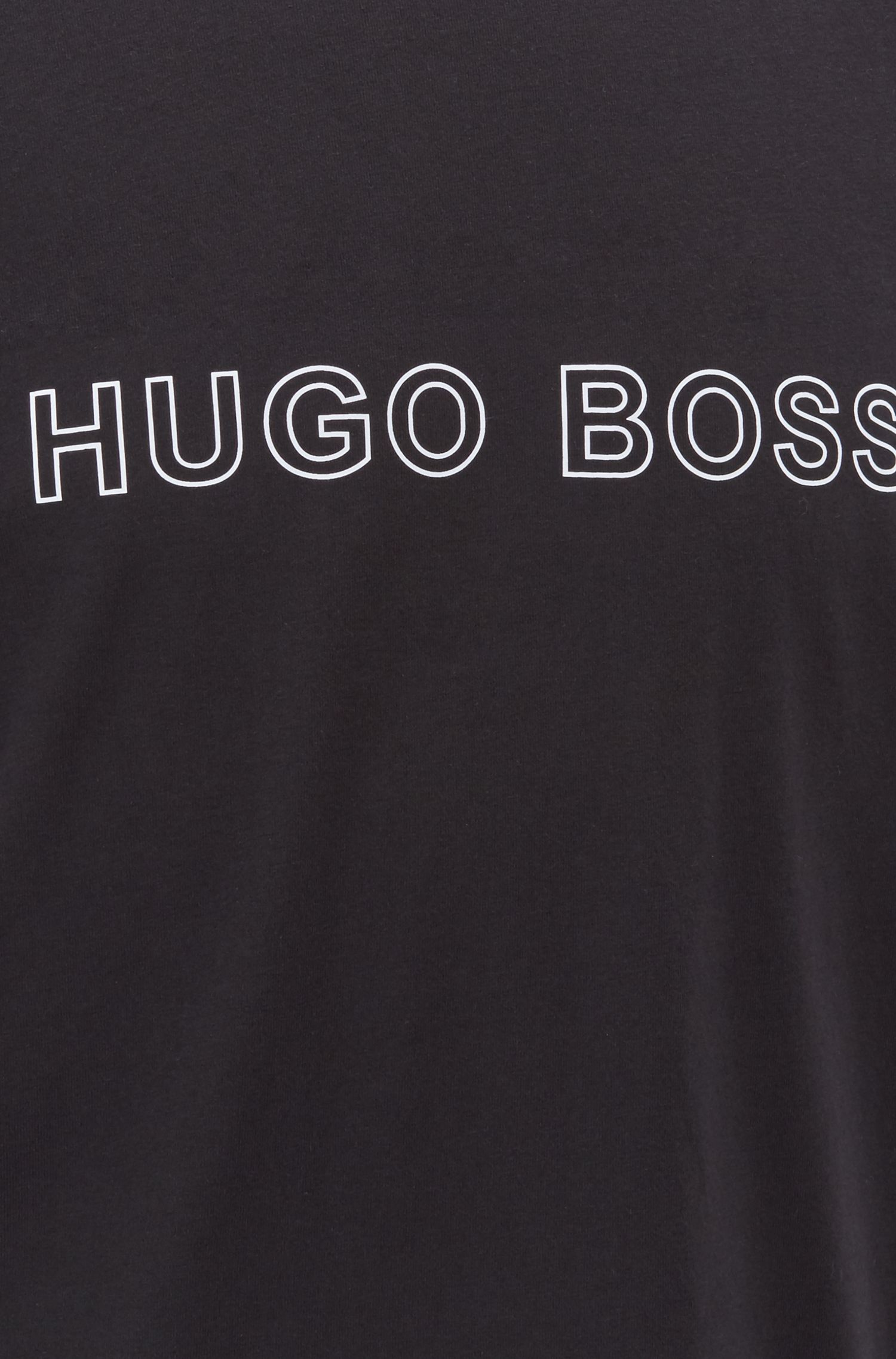 Camiseta de pijama con logo estampado en algodón elástico de punto sencillo, Negro