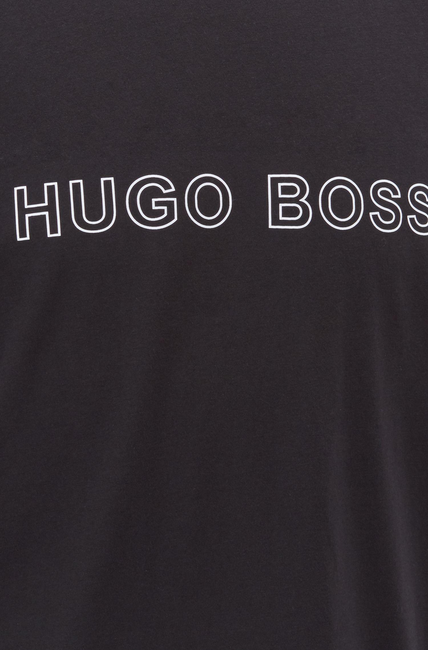 Logo-print pyjama top in single-jersey stretch cotton, Black