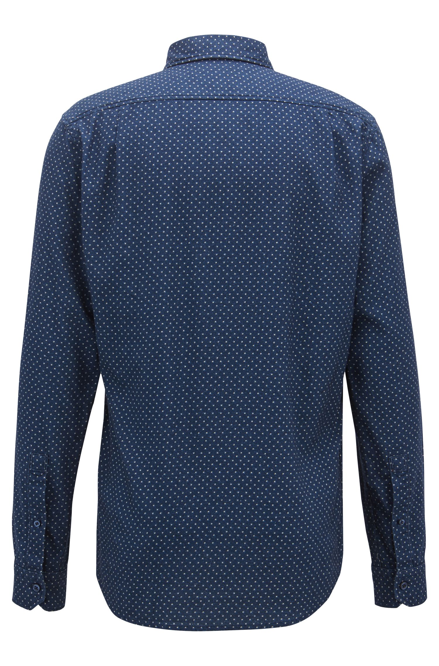 Camicia regular fit in twill di cotone con motivo geometrico