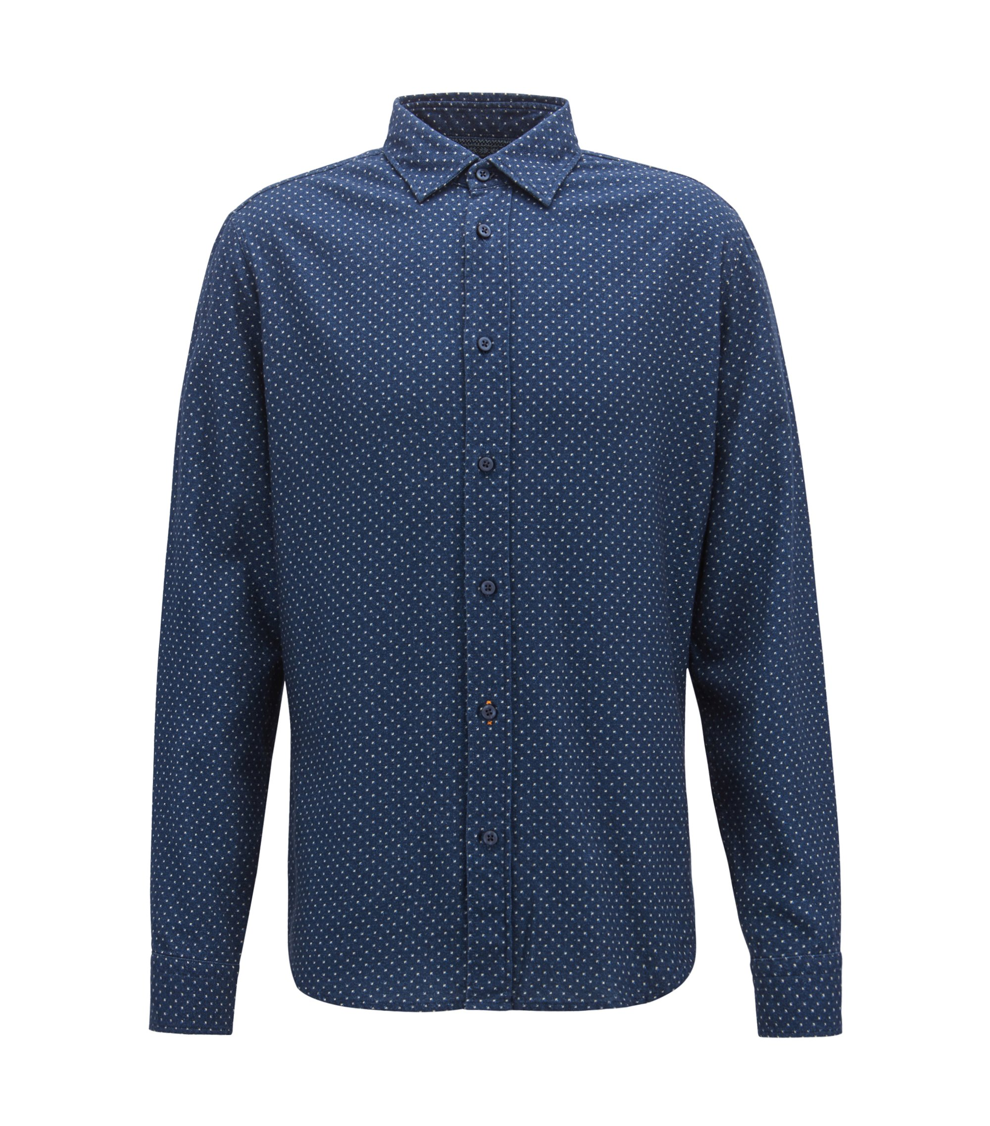Regular-fit shirt in cotton twill with geometric pattern, Dark Blue