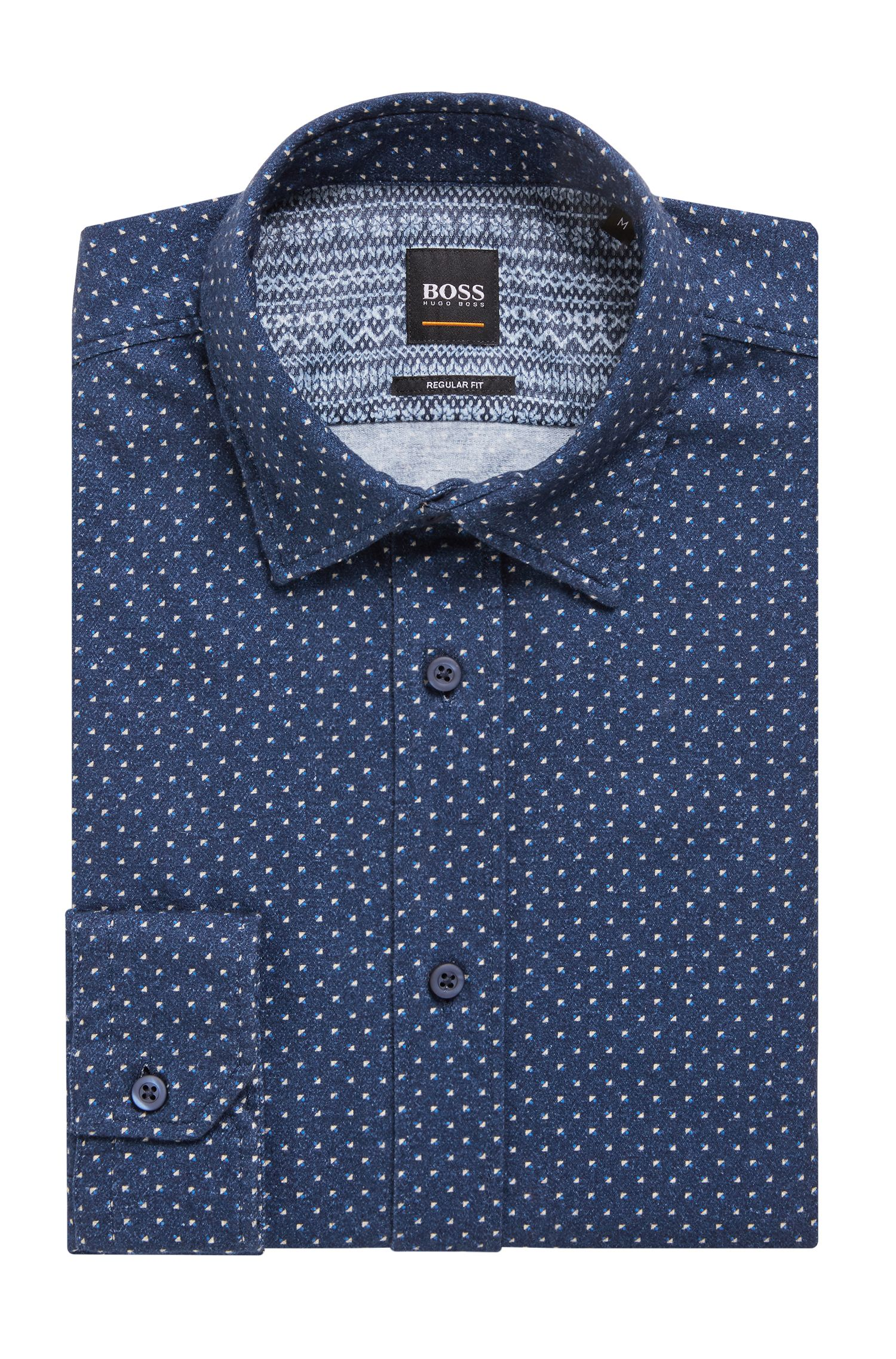 Regular-fit shirt in cotton twill with geometric pattern