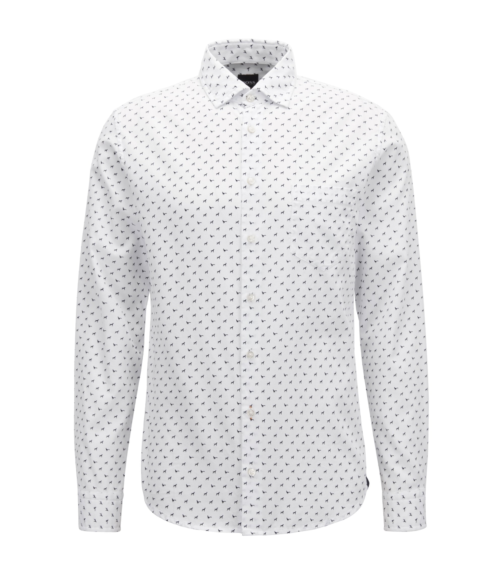 Slim-fit shirt in cotton with dog motif, White