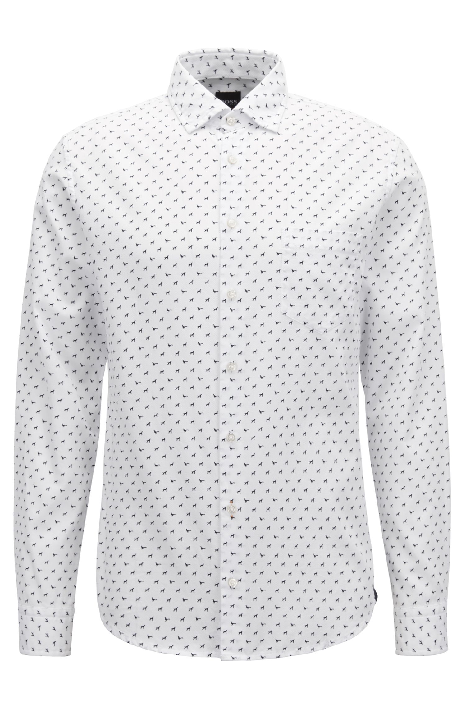 Slim-fit shirt in cotton with dog motif