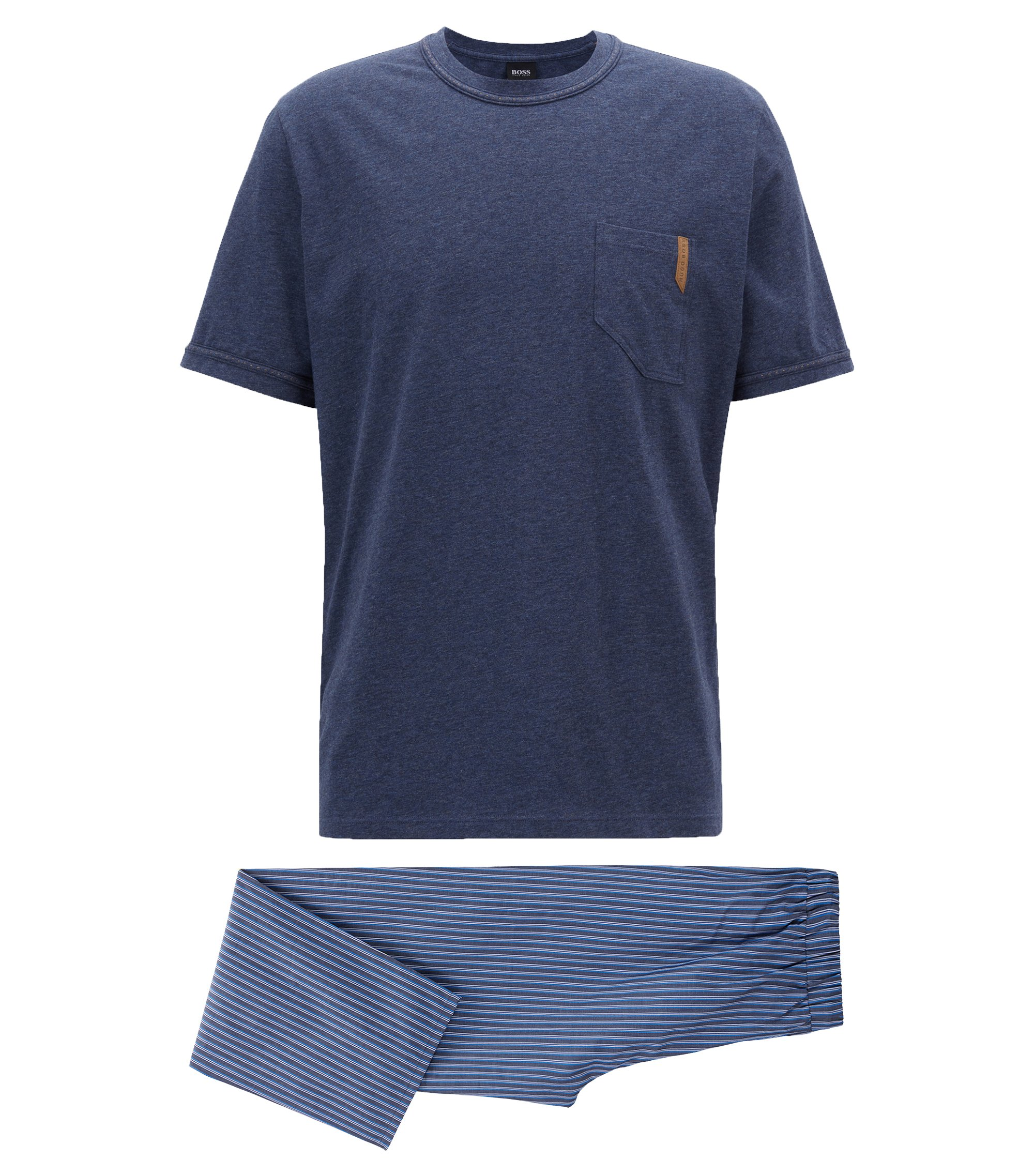 Pyjama set in cotton twill with denim-look pockets , Dark Blue