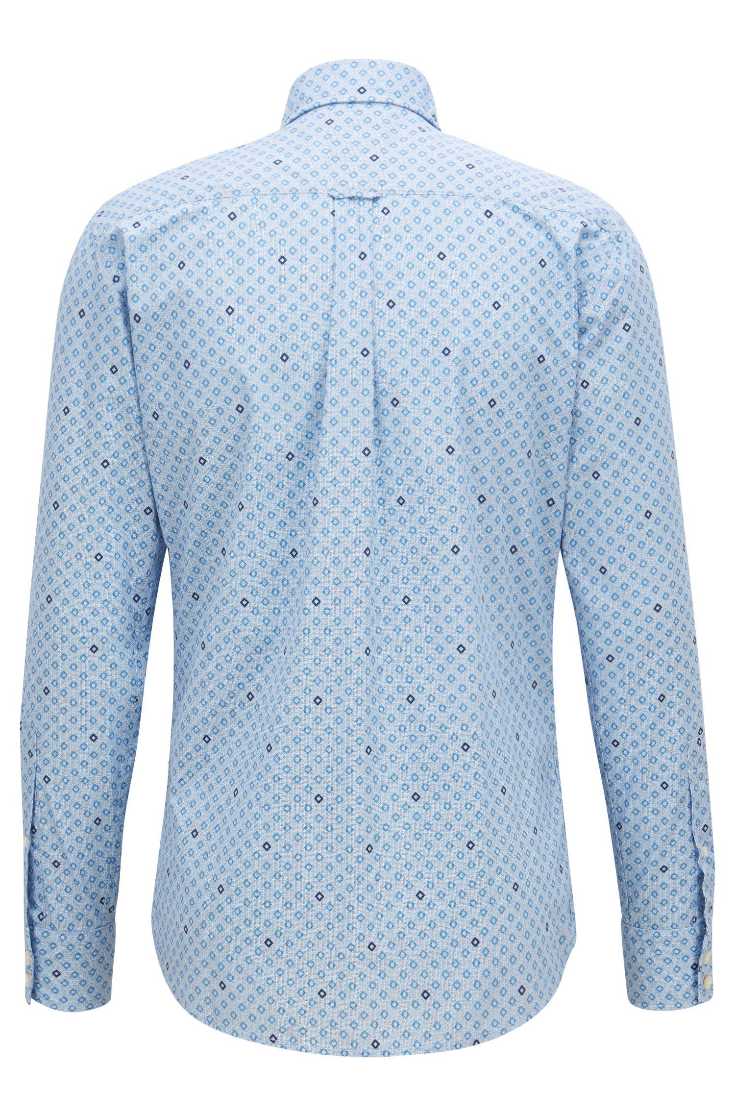 Camisa slim fit de algodón con estampado geométrico