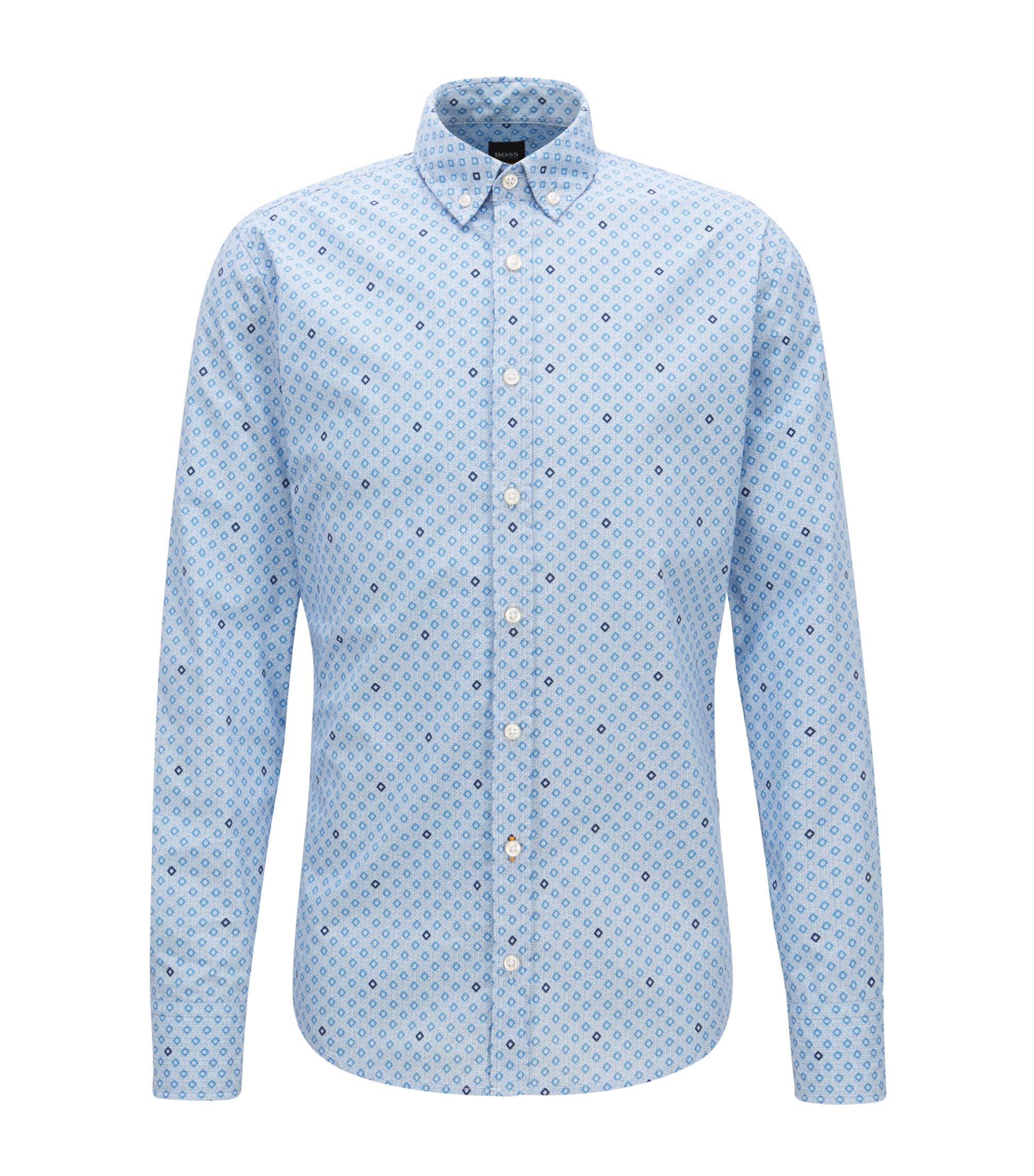 Camisa slim fit de algodón con estampado geométrico, Celeste