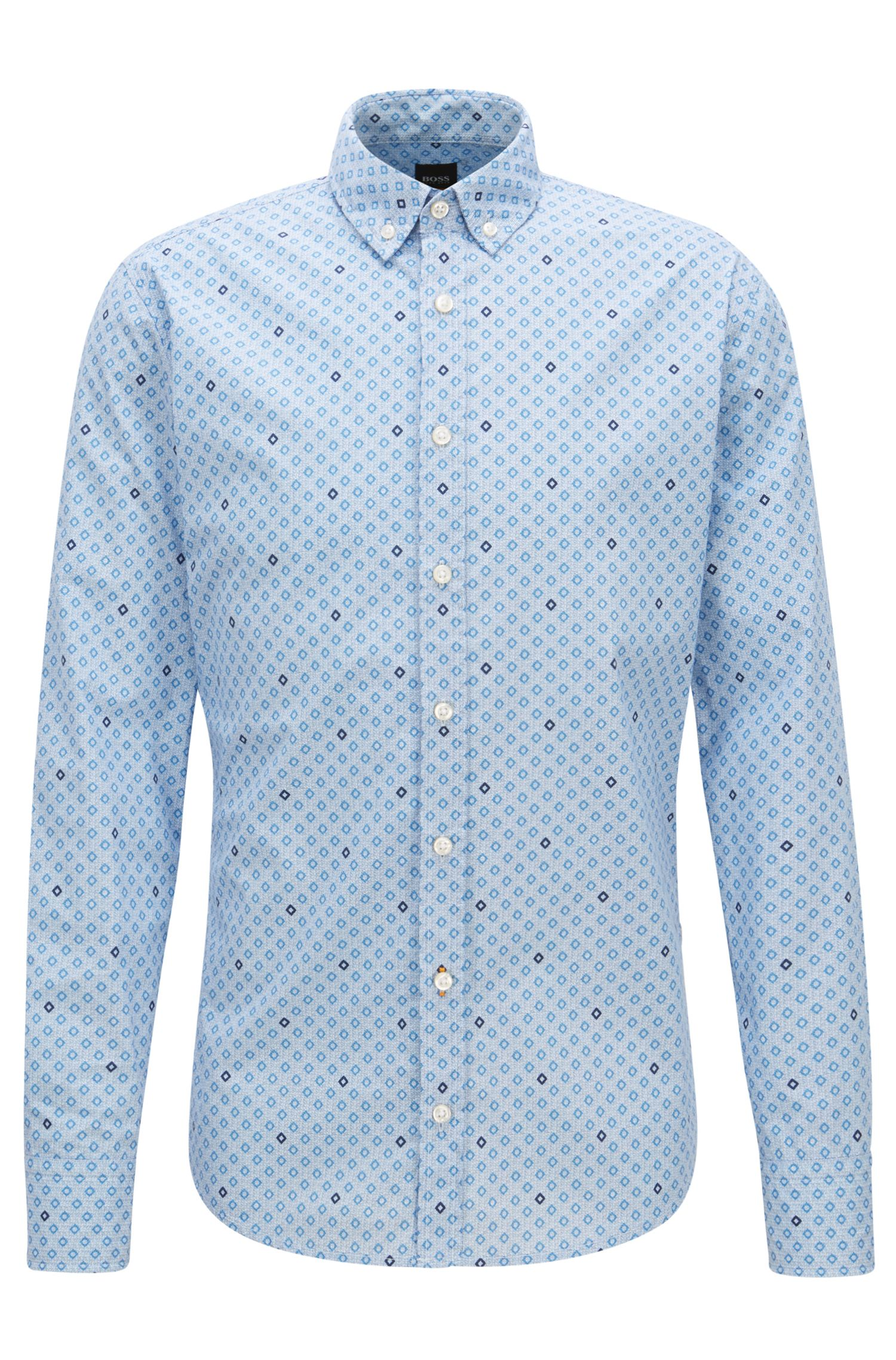 Slim-fit shirt in cotton with geometric print, Light Blue