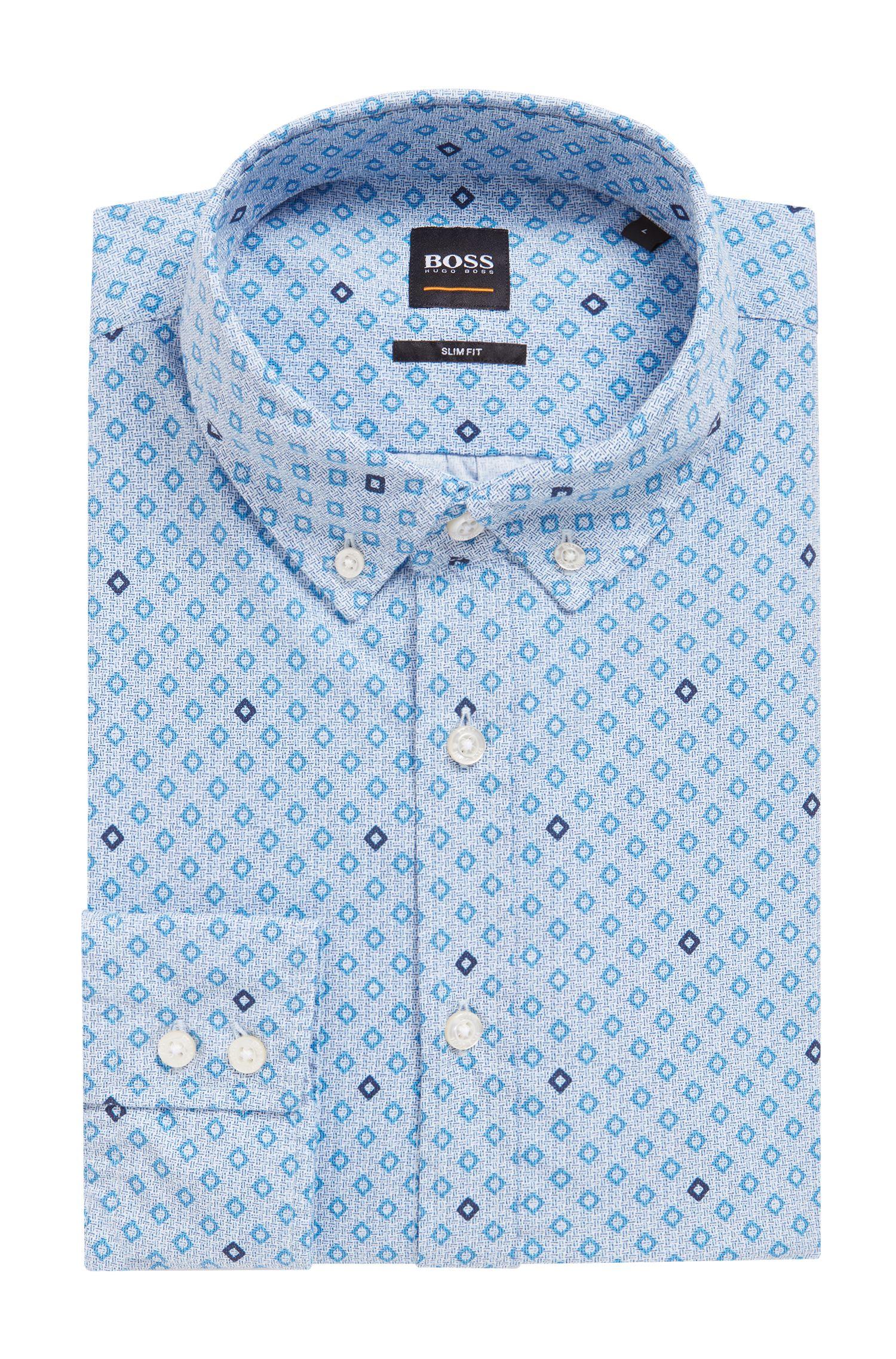 Slim-Fit Hemd aus Baumwolle mit geometrischem Print, Hellblau