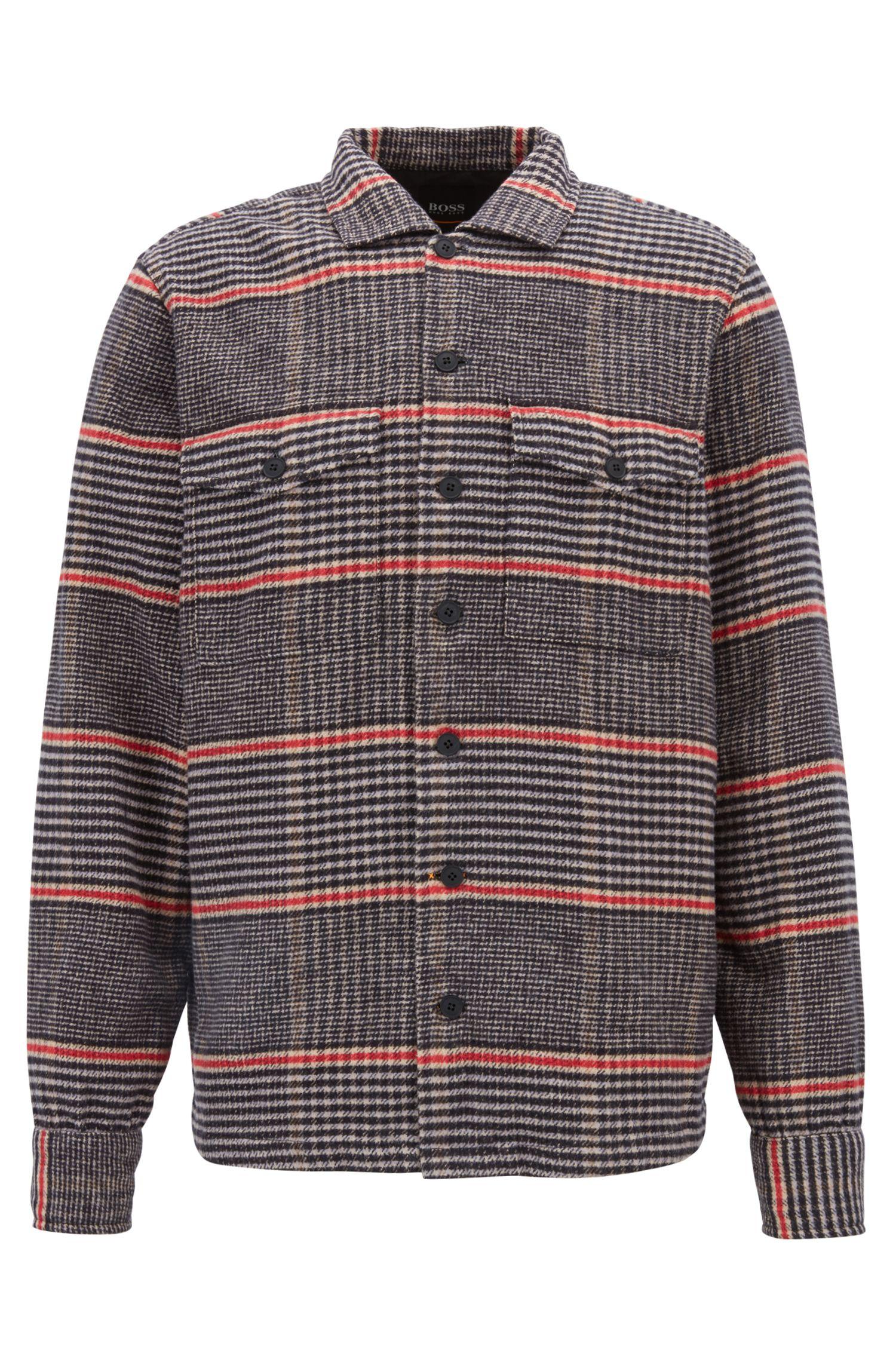 Camicia oversize in twill di cotone con motivo principe di Galles, Beige chiaro
