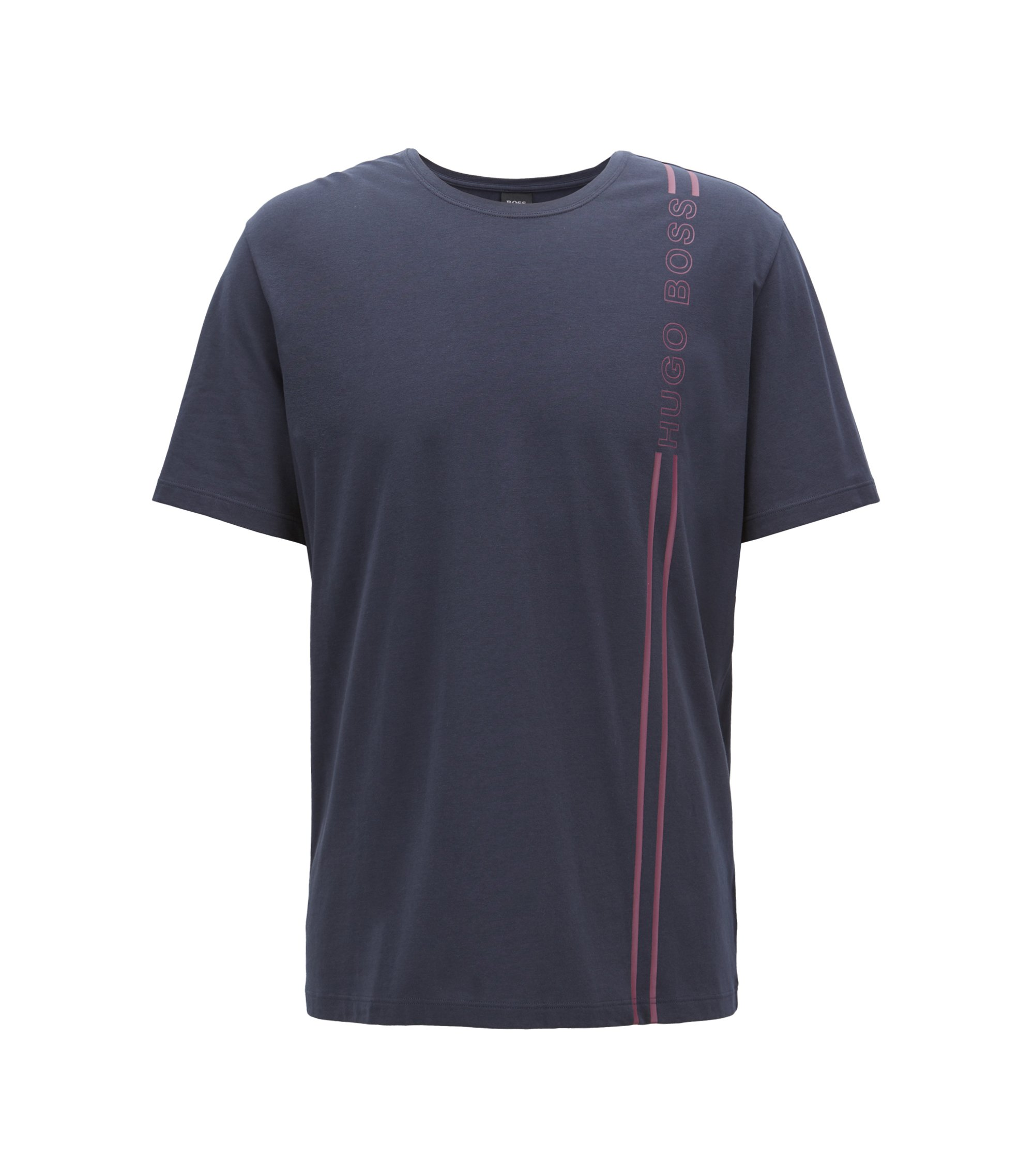 Jersey pyjama T-shirt with logo artwork, Dark Blue