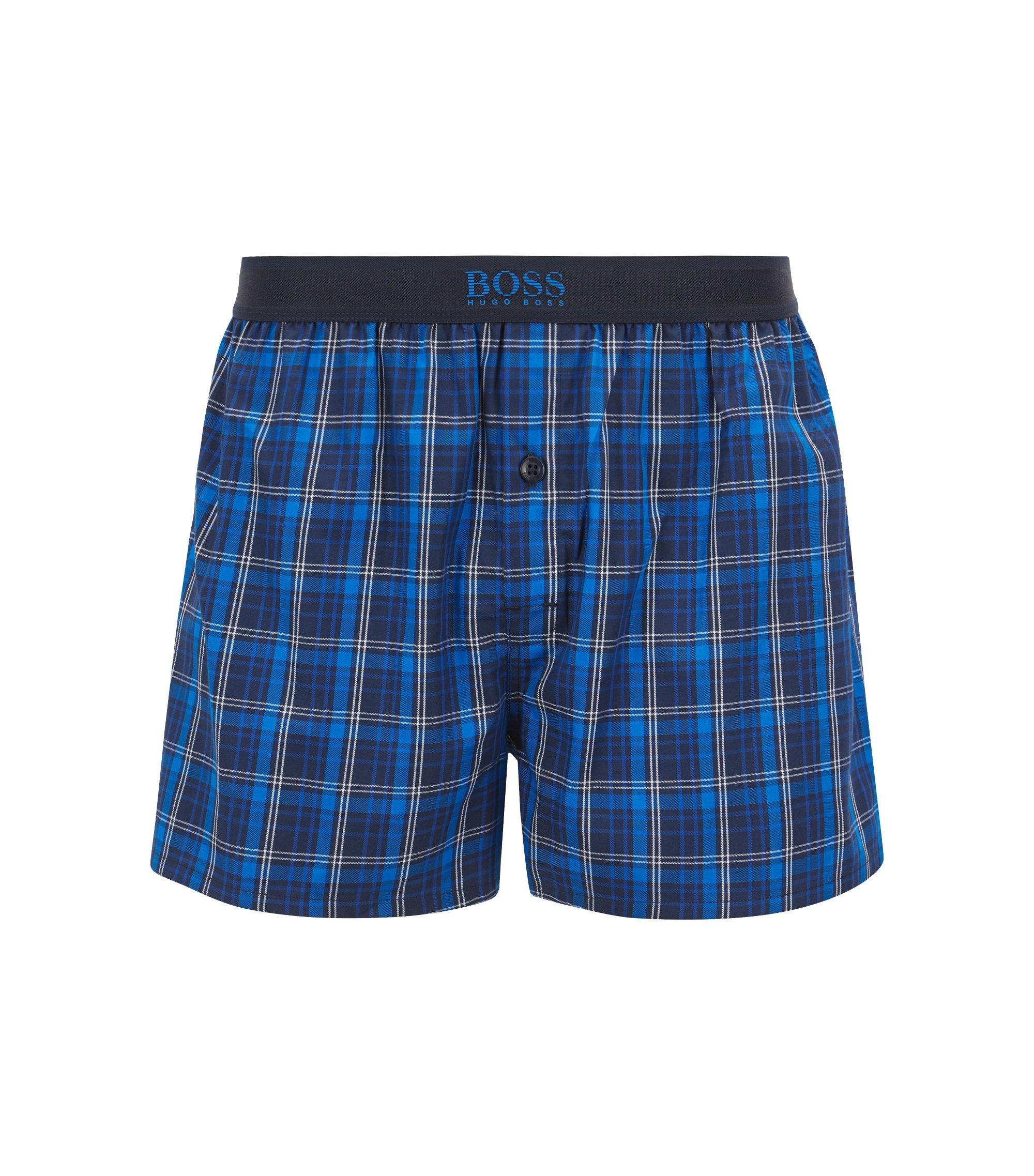 Karierte Pyjama-Shorts aus Baumwoll-Popeline mit Logo am Bund, Blau