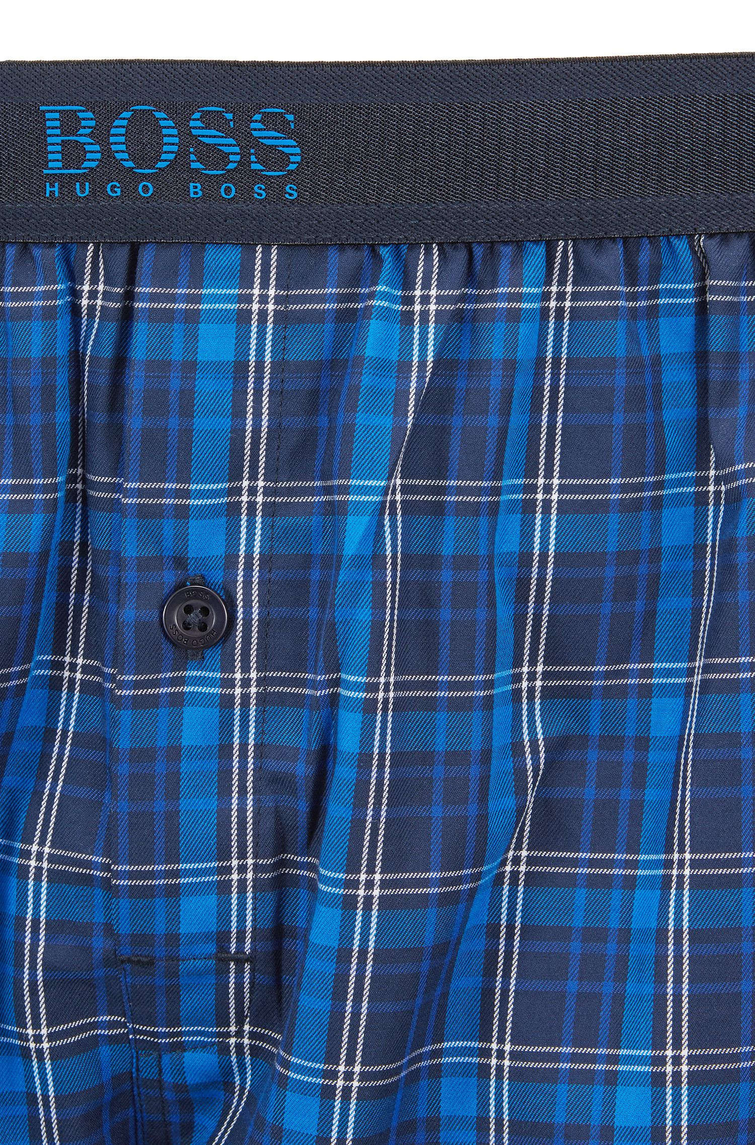 Checked pyjama shorts in cotton poplin with logo waistband, Blue