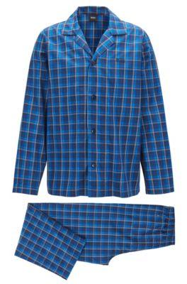 Conjunto de pijama en sarga de algodón a cuadros, Celeste