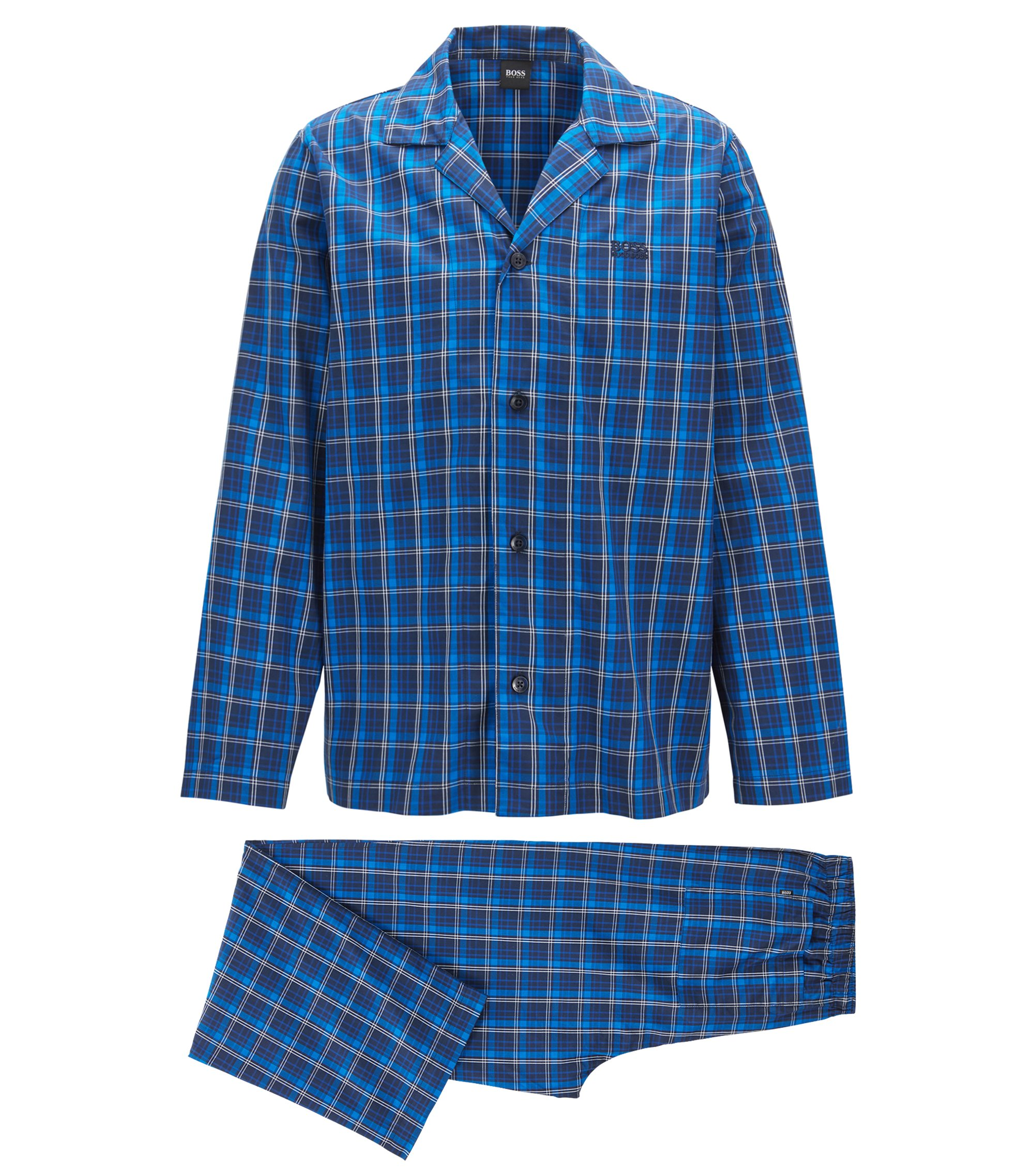 Pyjama set in checked cotton twill, Open Blue