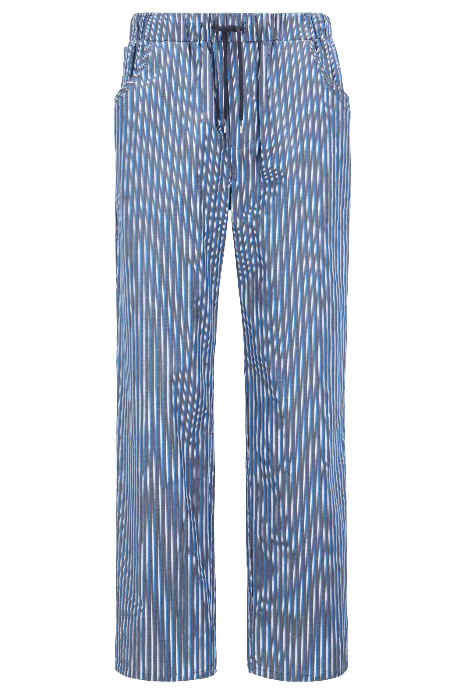 Pyjama trousers in striped cotton twill with pockets, Dark Blue