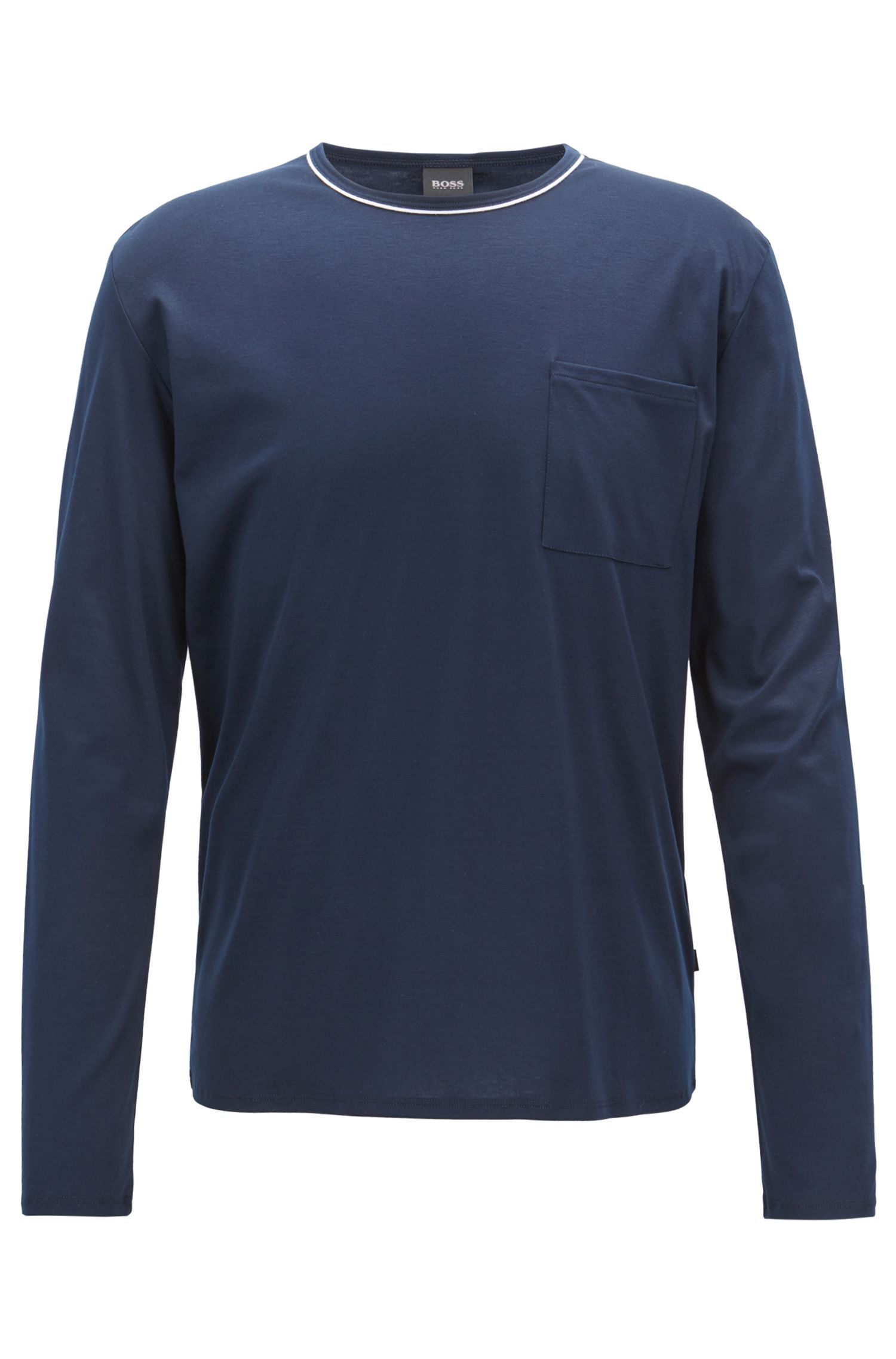 Long-sleeved pyjama top in a cotton-modal blend, Dark Blue