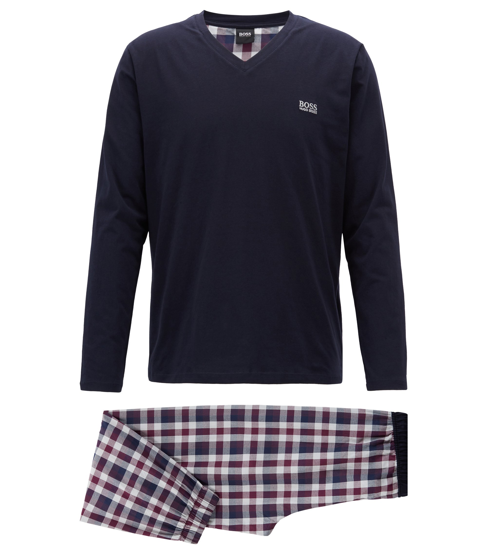 Brushed-cotton pyjama set with a plain check, Dark Purple