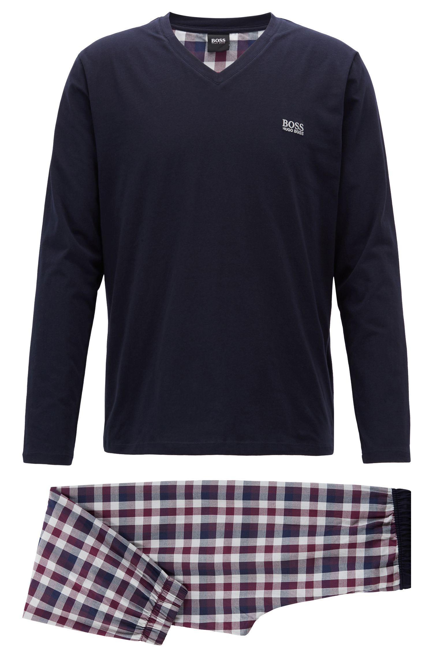 Pyjamaset van geborstelde katoen met een effen ruitdessin, Donkerpaars