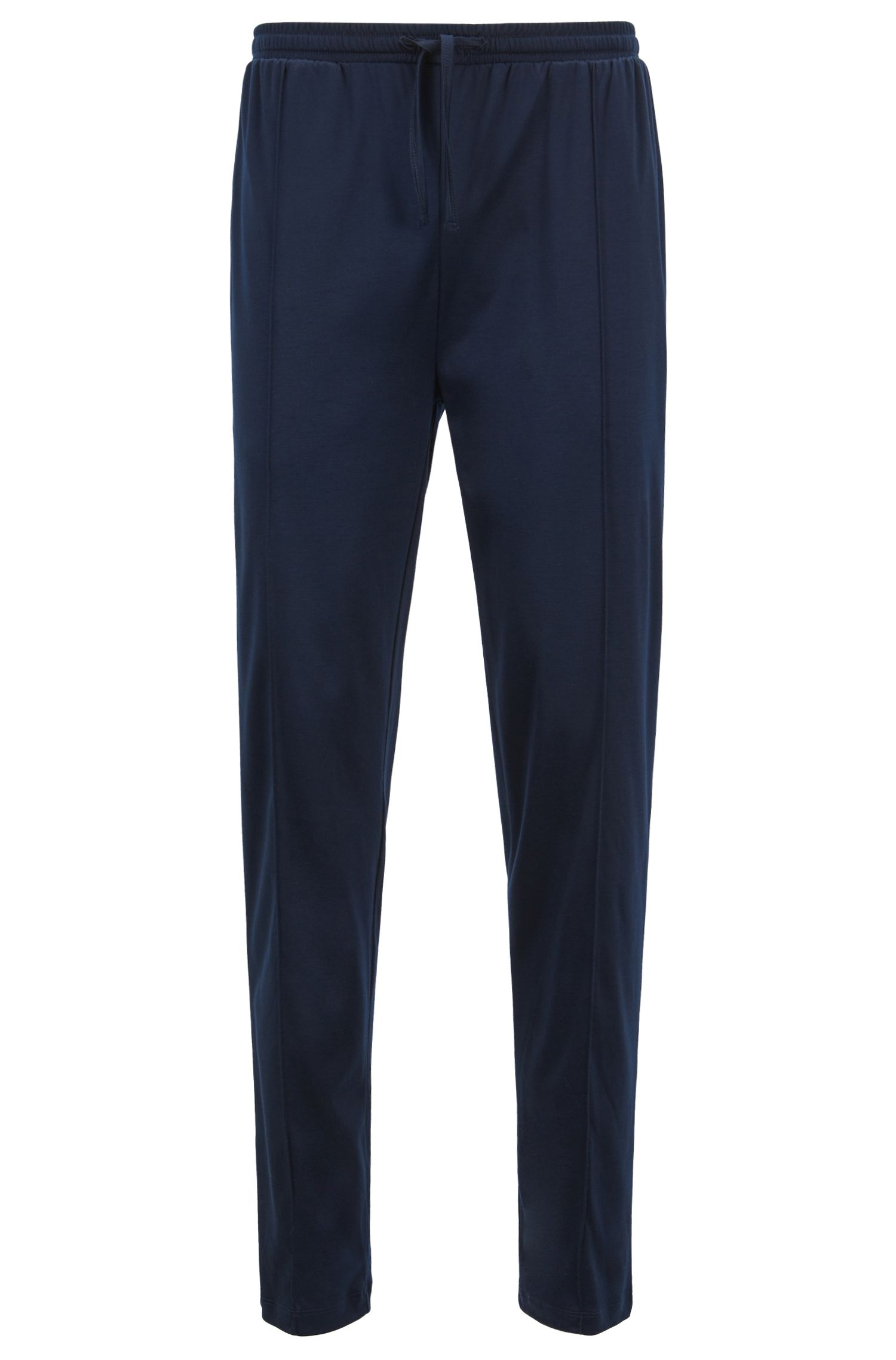 Pantalones de pijama en mezcla de modal y algodón interlock, Azul oscuro
