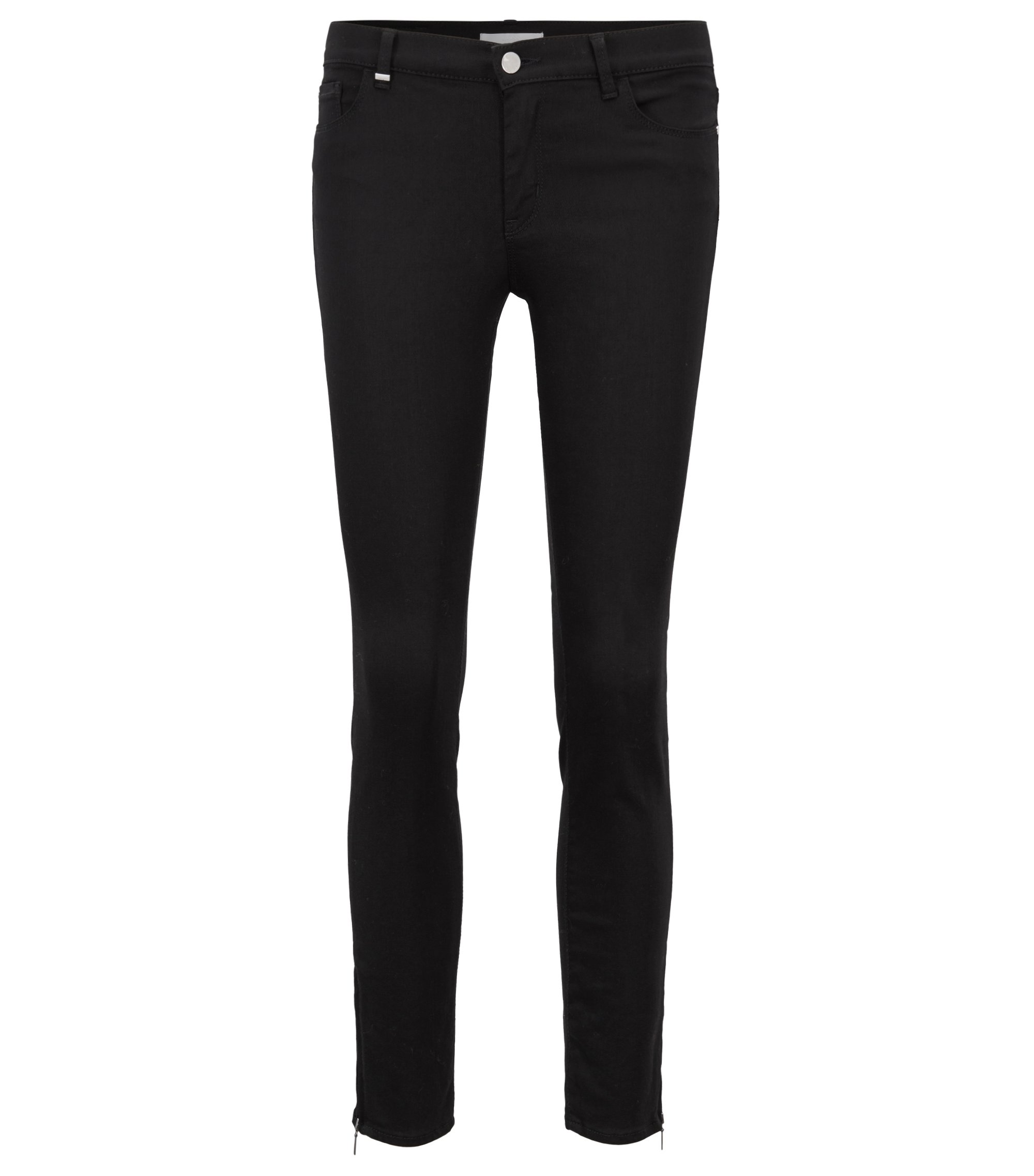 Slim-Fit Jeans aus Stay Black Stretch-Denim mit verkürzter Beinlänge, Schwarz