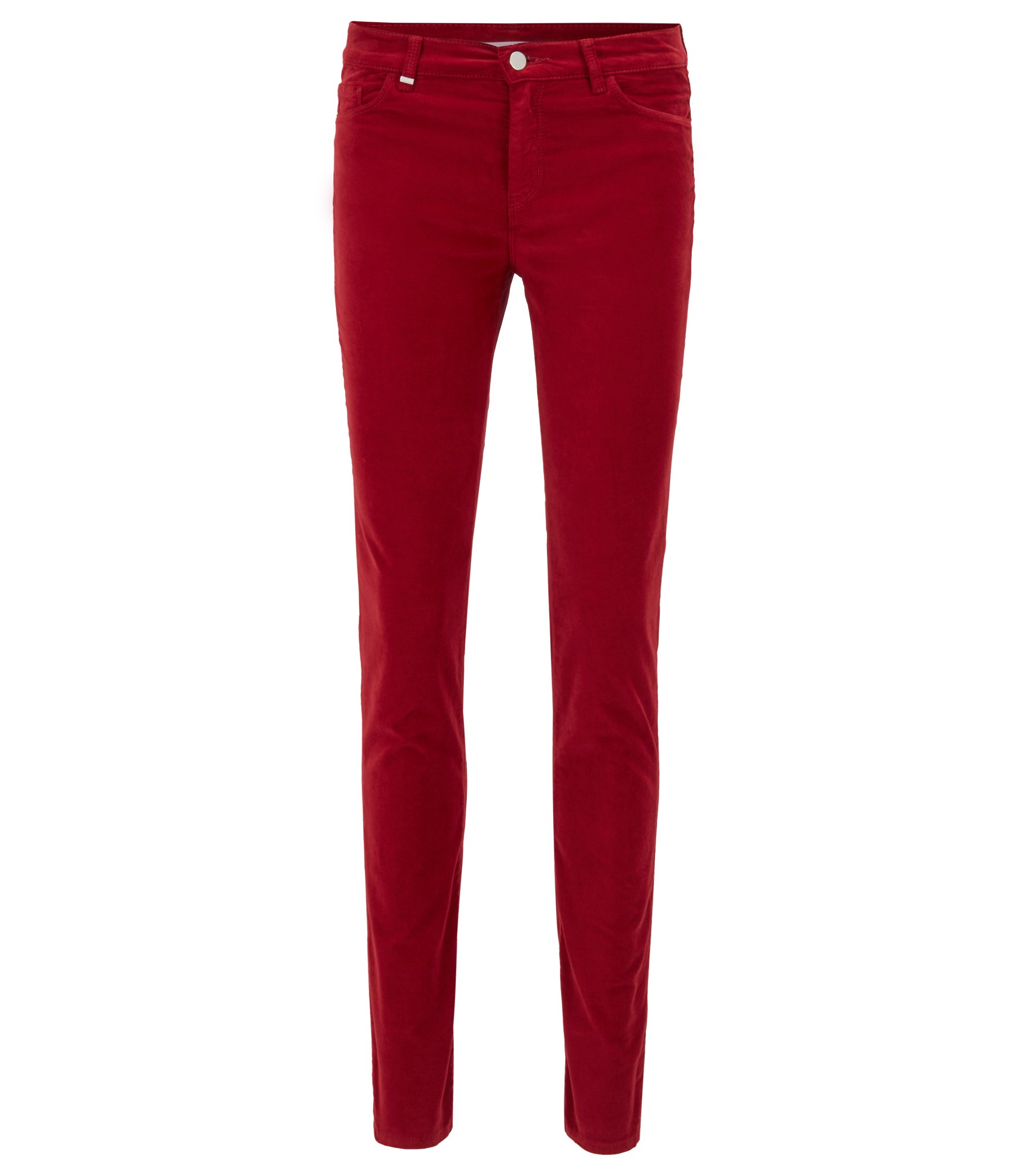 Slim-fit jeans in Italian stretch velvet, Dark Red