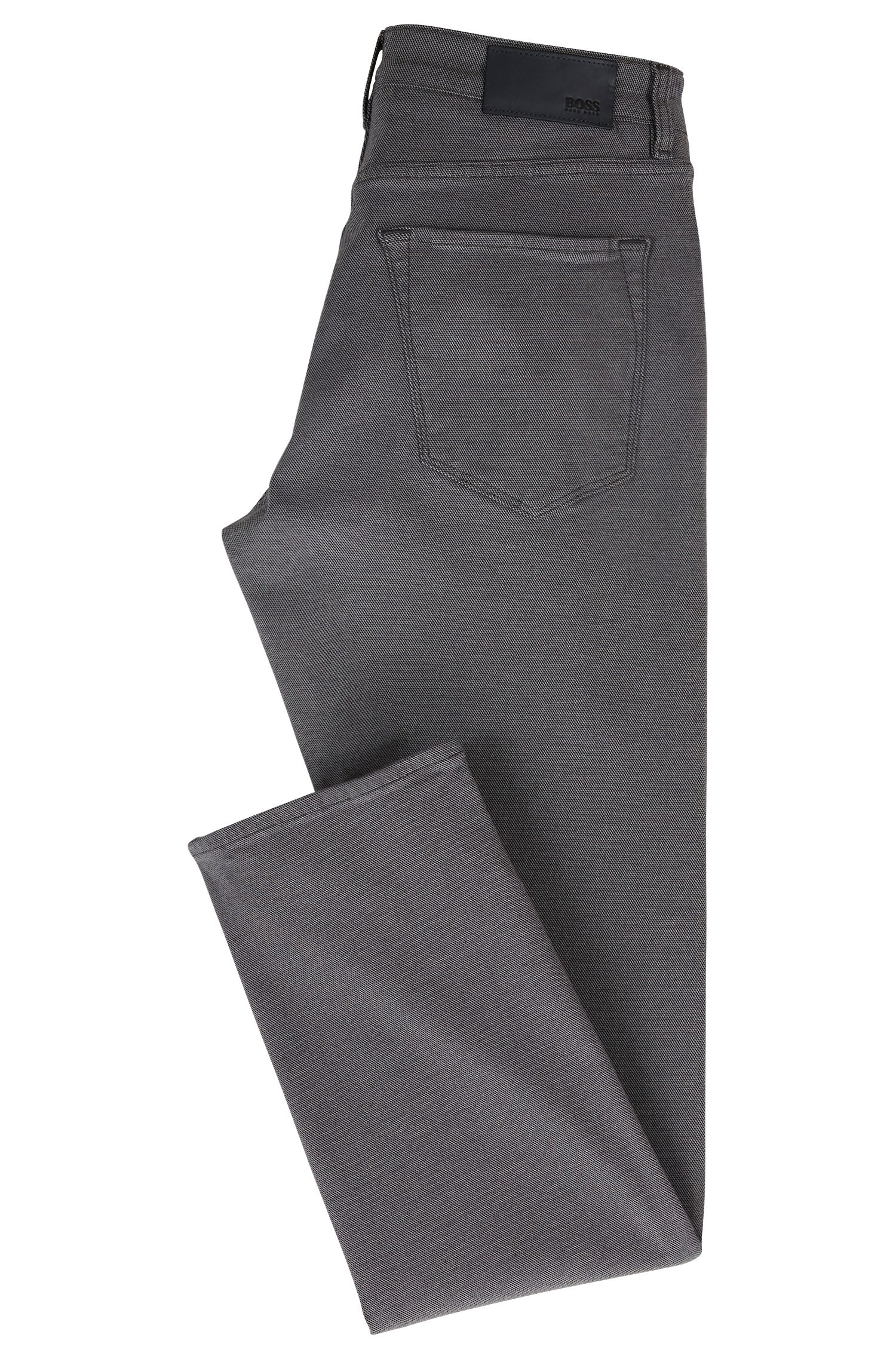 Jean Regular Fit en tissu stretch structuré, Gris