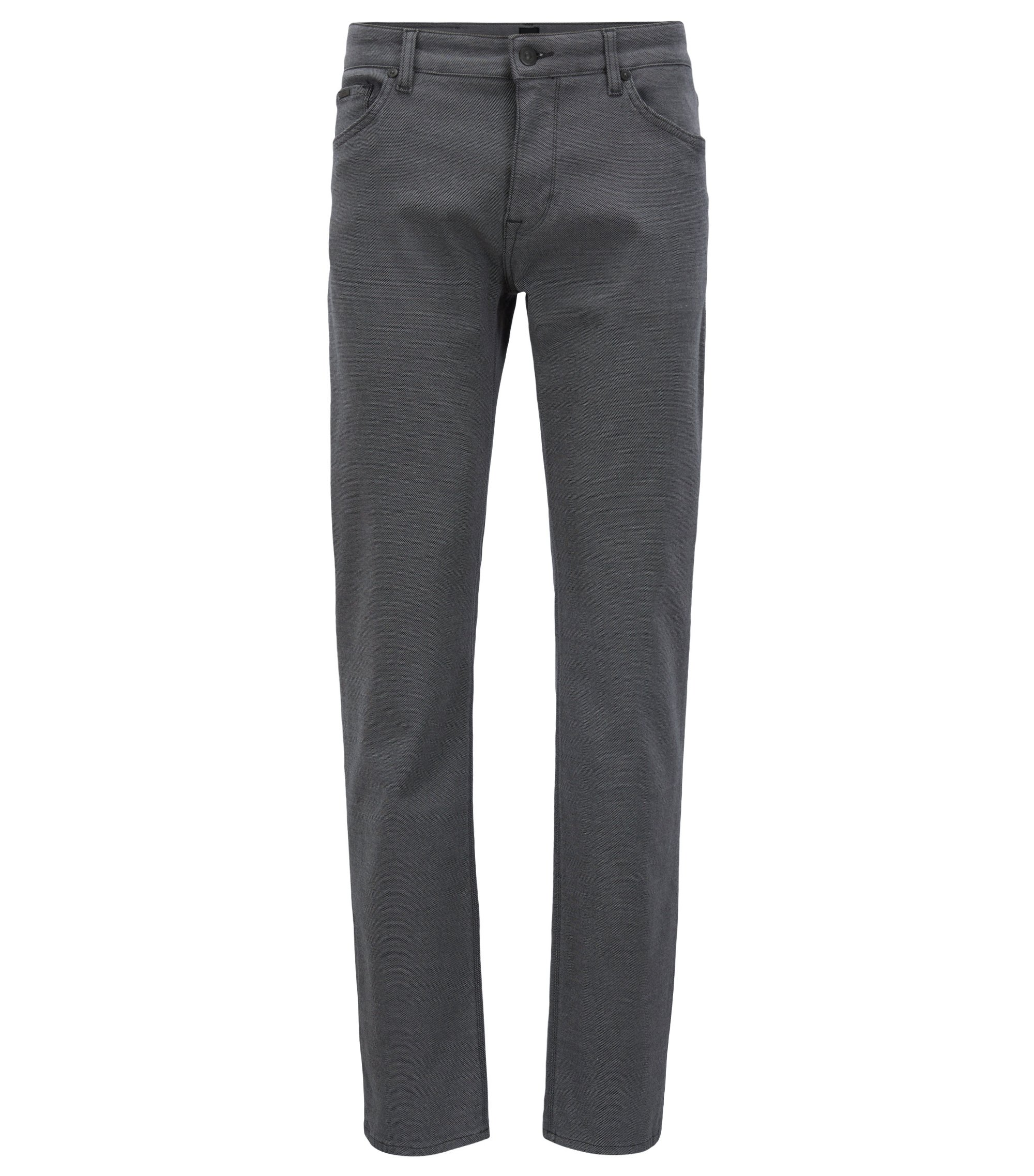 Regular-fit jeans in a textured stretch fabric, Grey