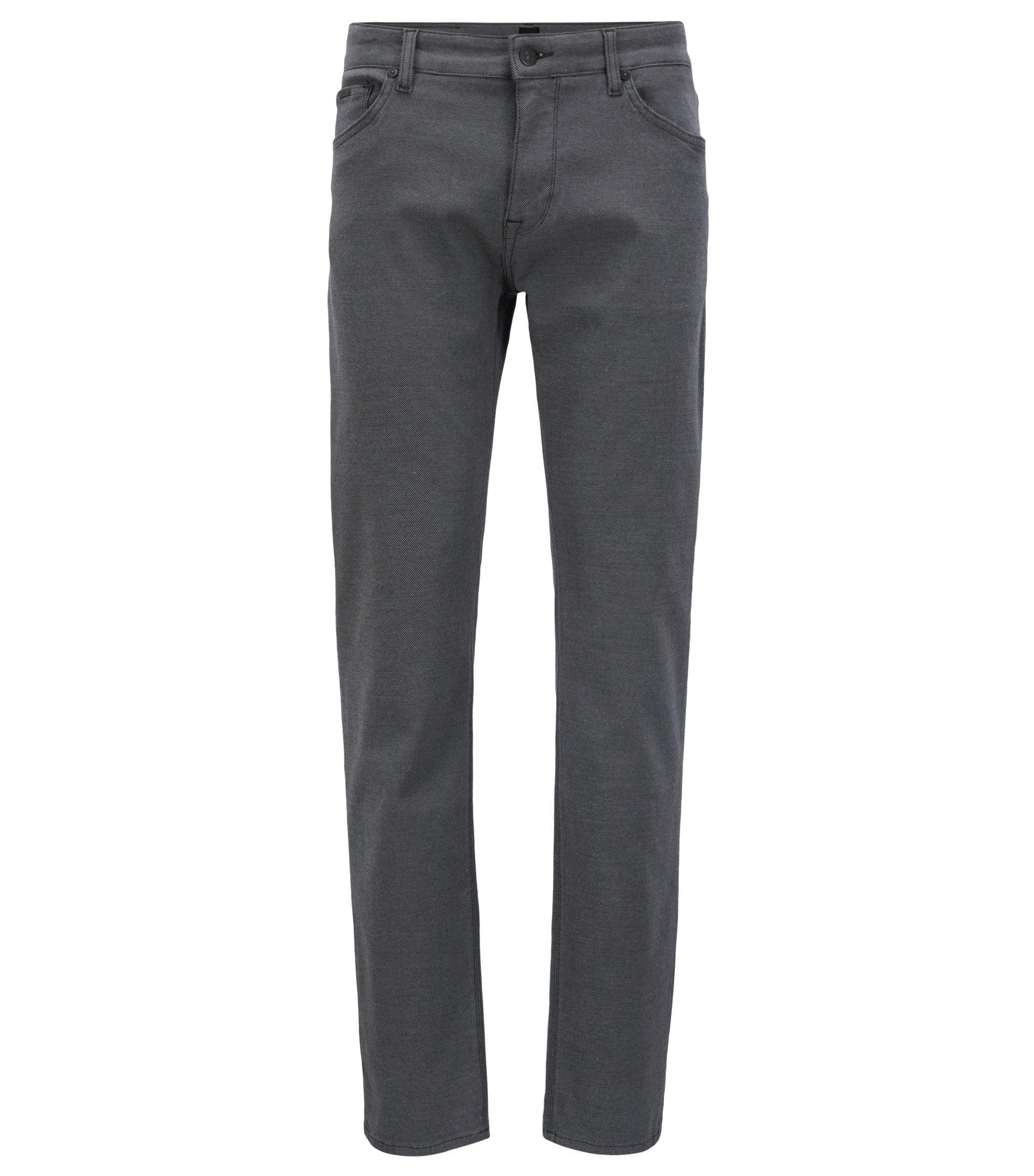 Regular-fit jeans van gestructureerd stretchmateriaal, Grijs