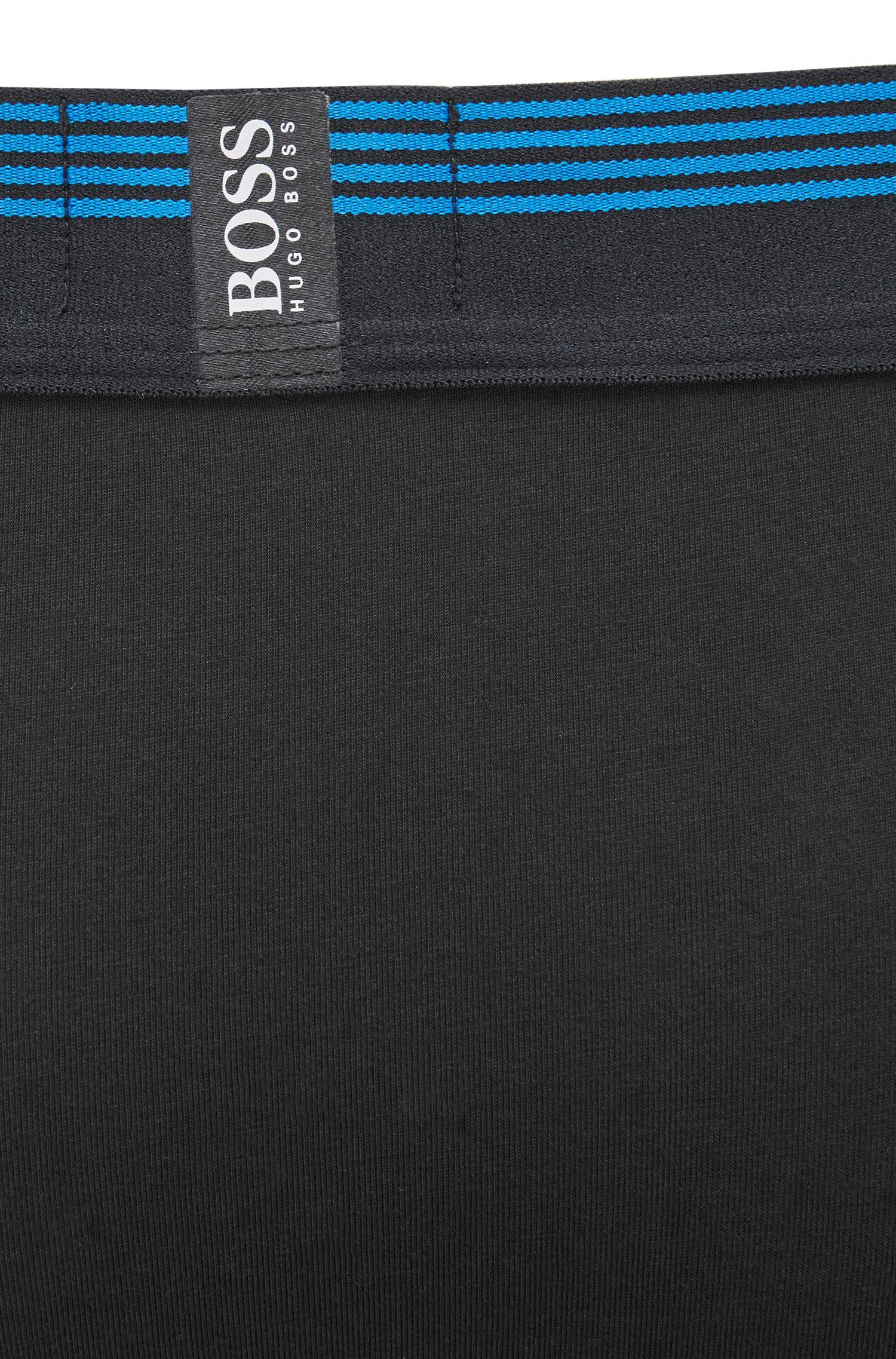 Regular-rise trunks with silicone logo waistband, Black