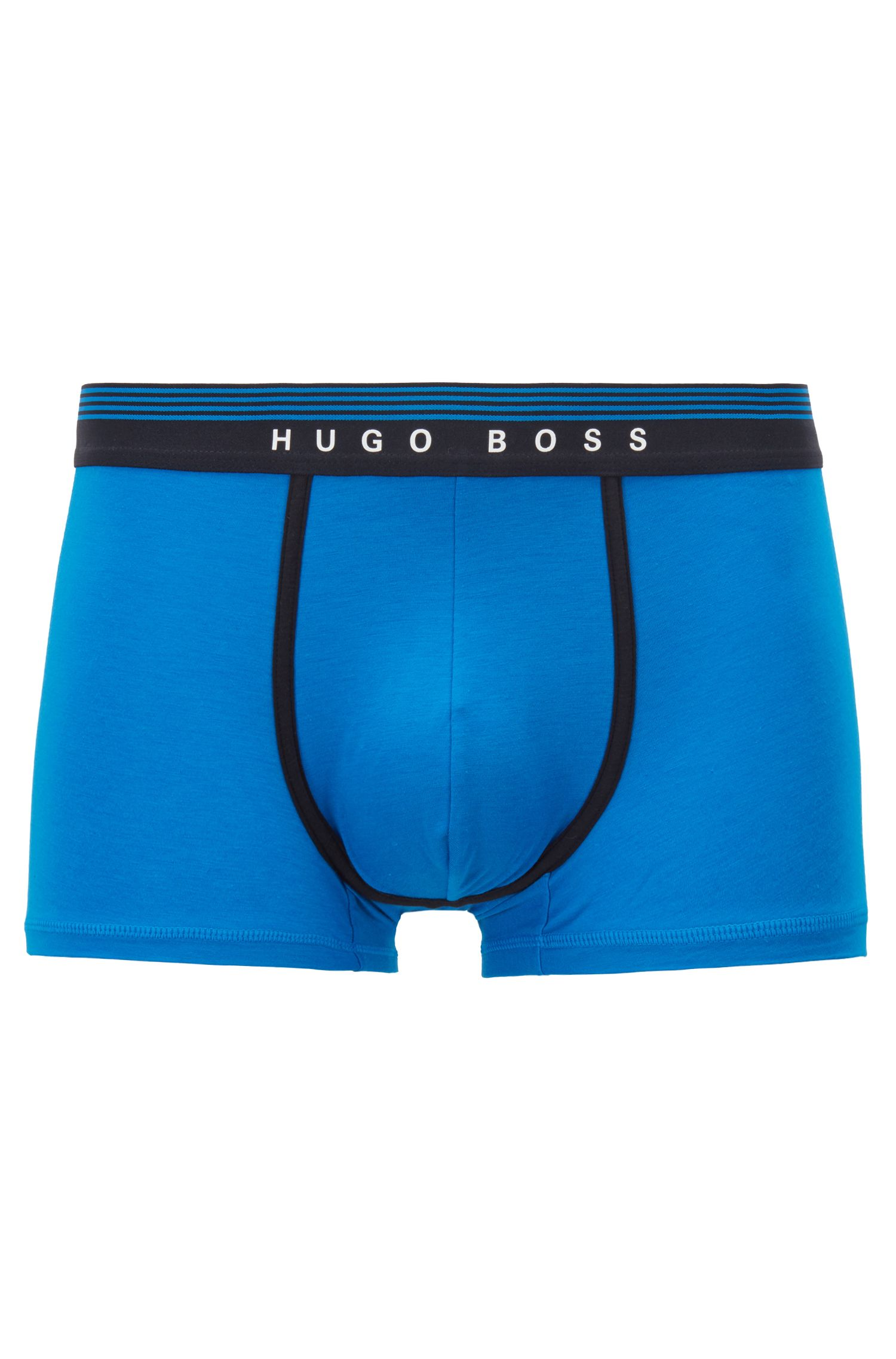 Regular-rise trunks with silicone logo waistband, Blue
