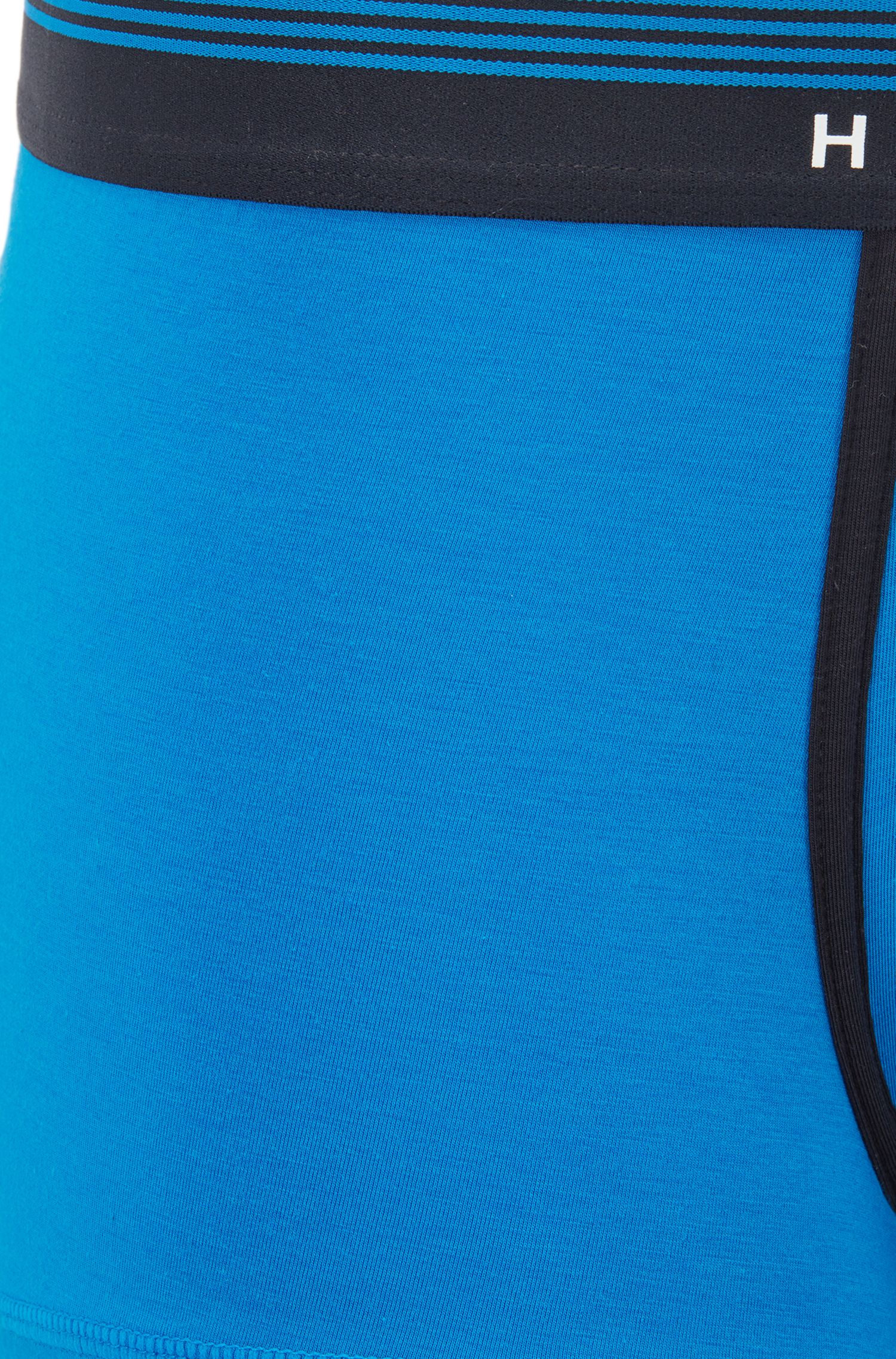 Boxer corti con vita ad altezza normale con logo in silicone, Blu