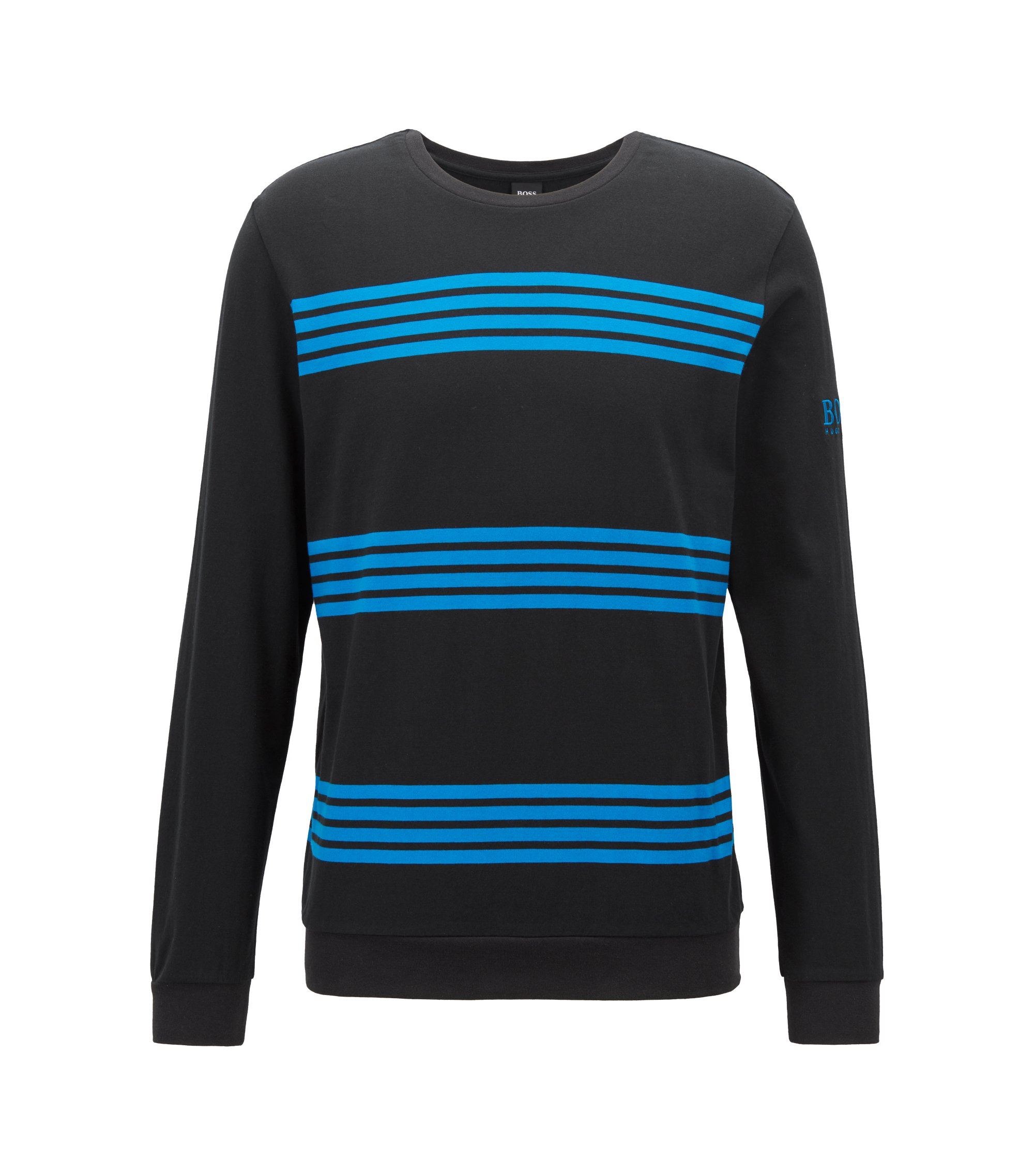 Striped jersey sweatshirt with logo embroidery, Black