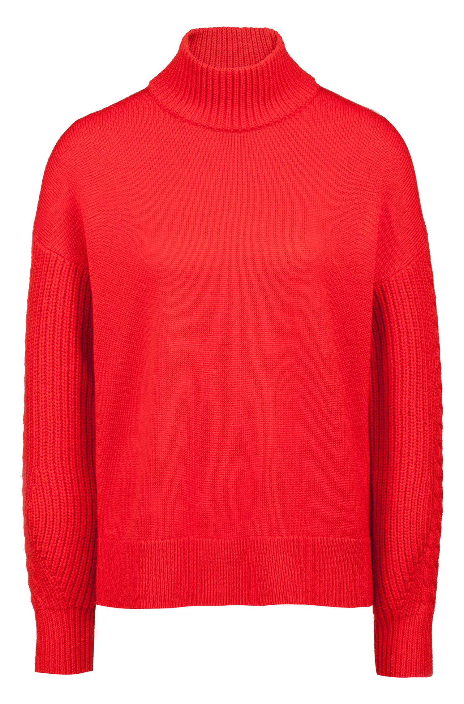 Turtleneck sweater in merino wool with cable-knit details, Red