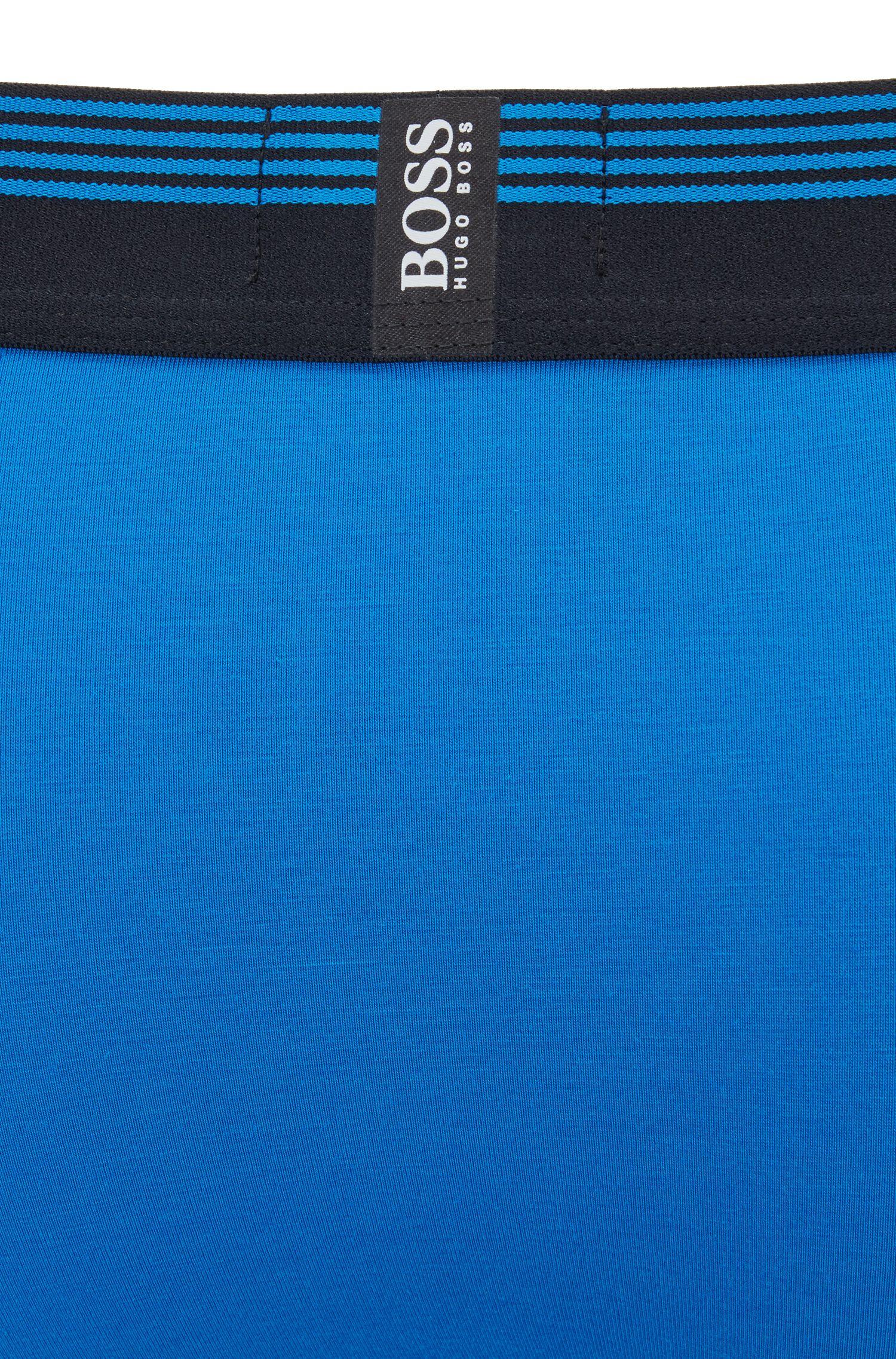 Boxer con fascia in vita a righe e logo in silicone, Blu