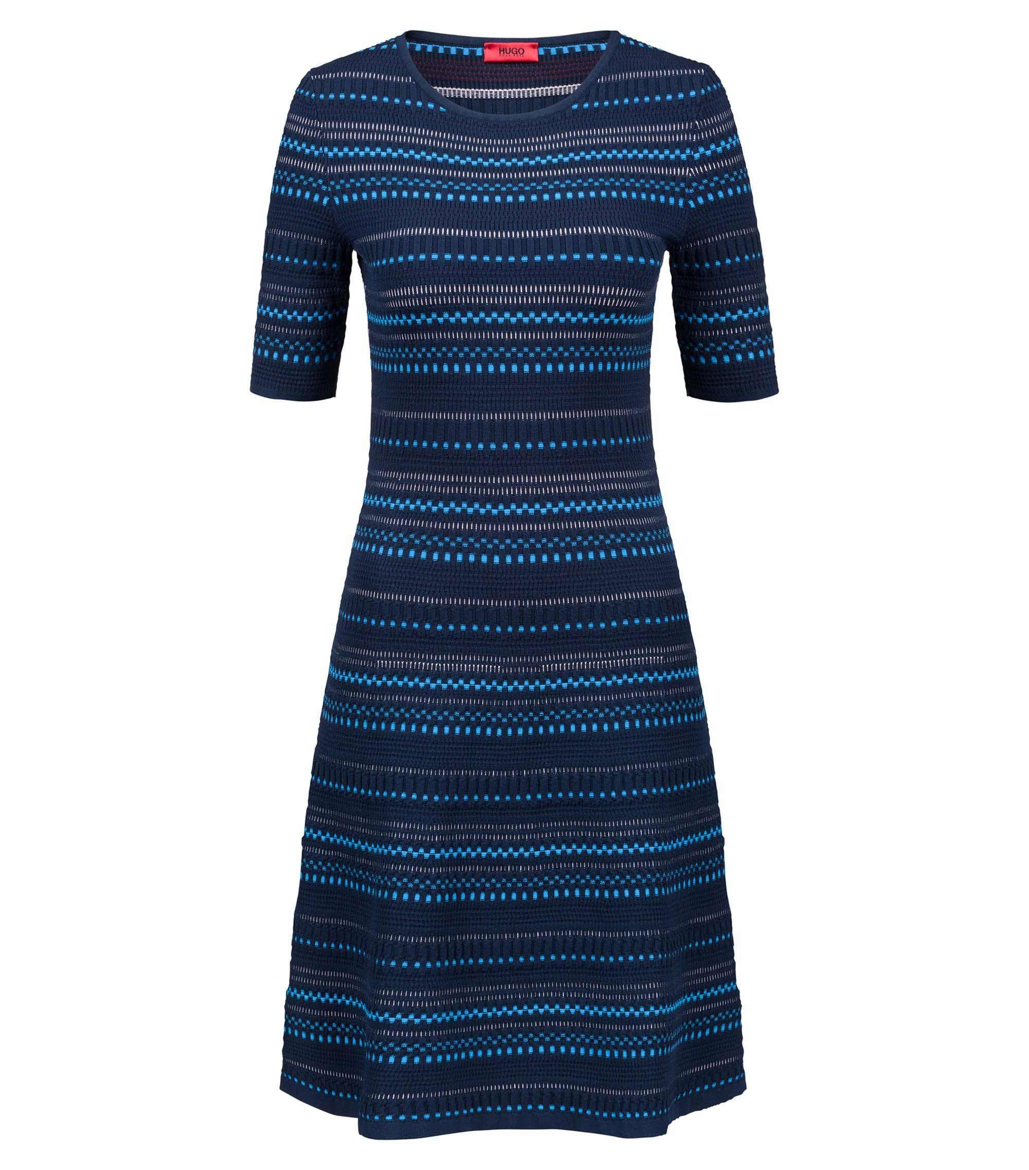 Robe en maille jacquard ultra stretch tricolore, Fantaisie