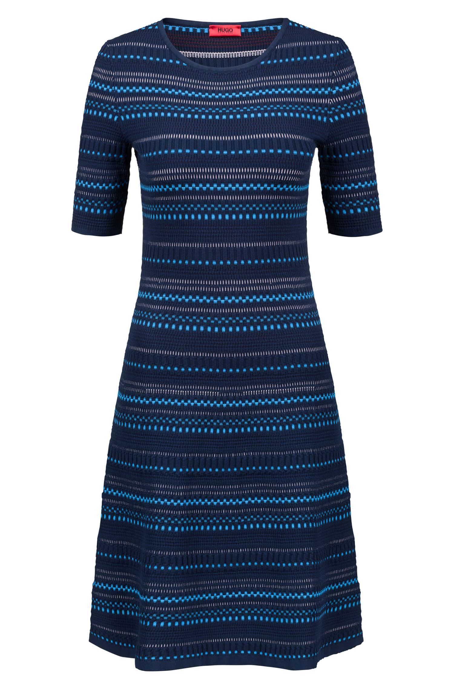 Knitted dress in super-stretch three-coloured jacquard