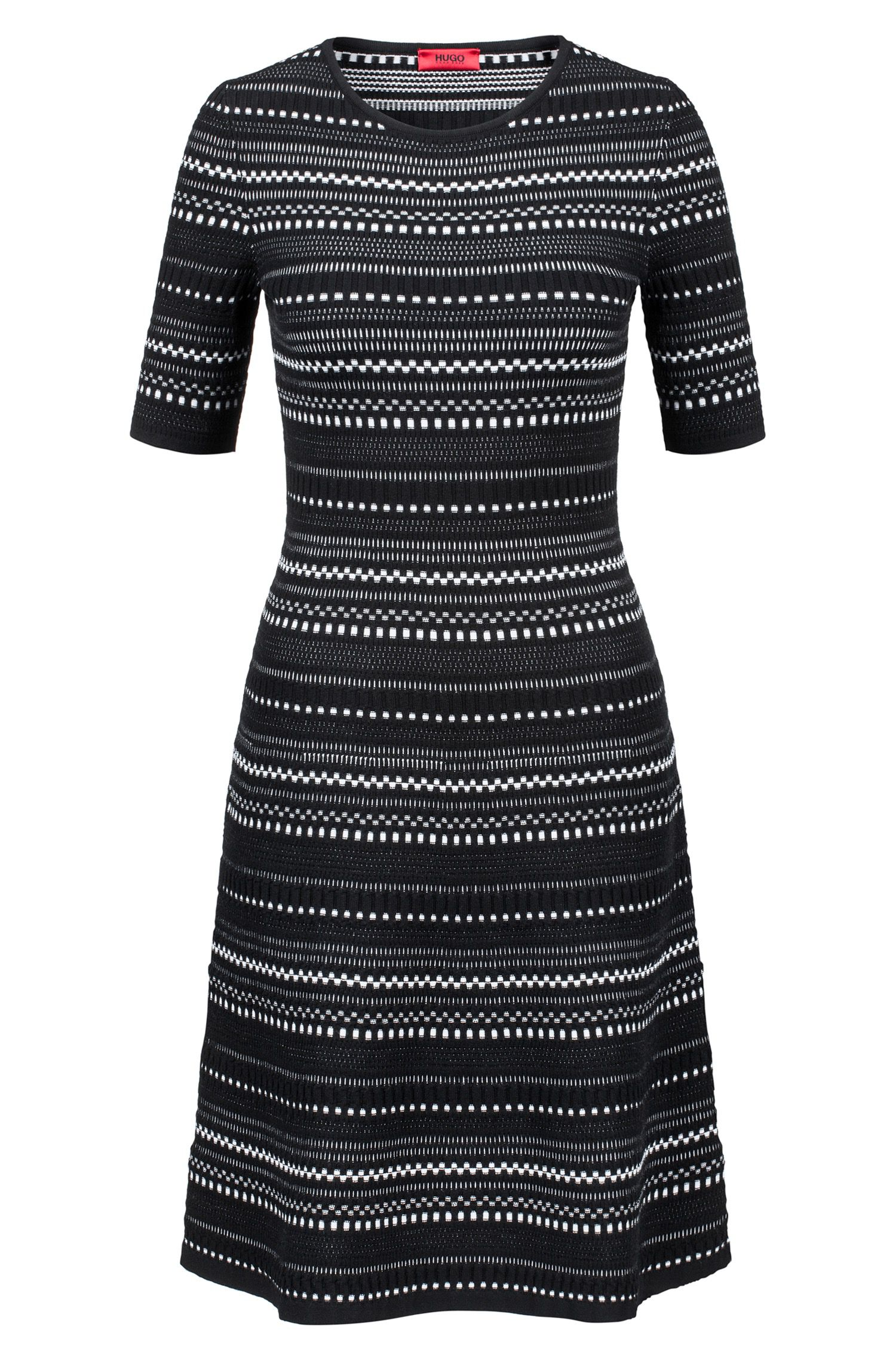 Knitted dress in super-stretch three-coloured jacquard, Patterned