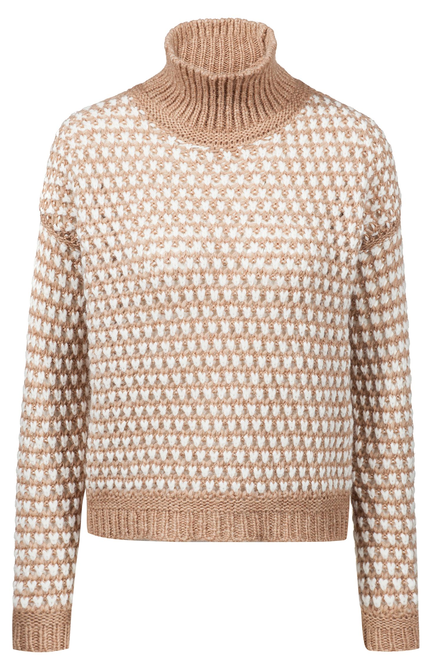 Oversized-fit cropped sweater in a two-tone knit, Patterned