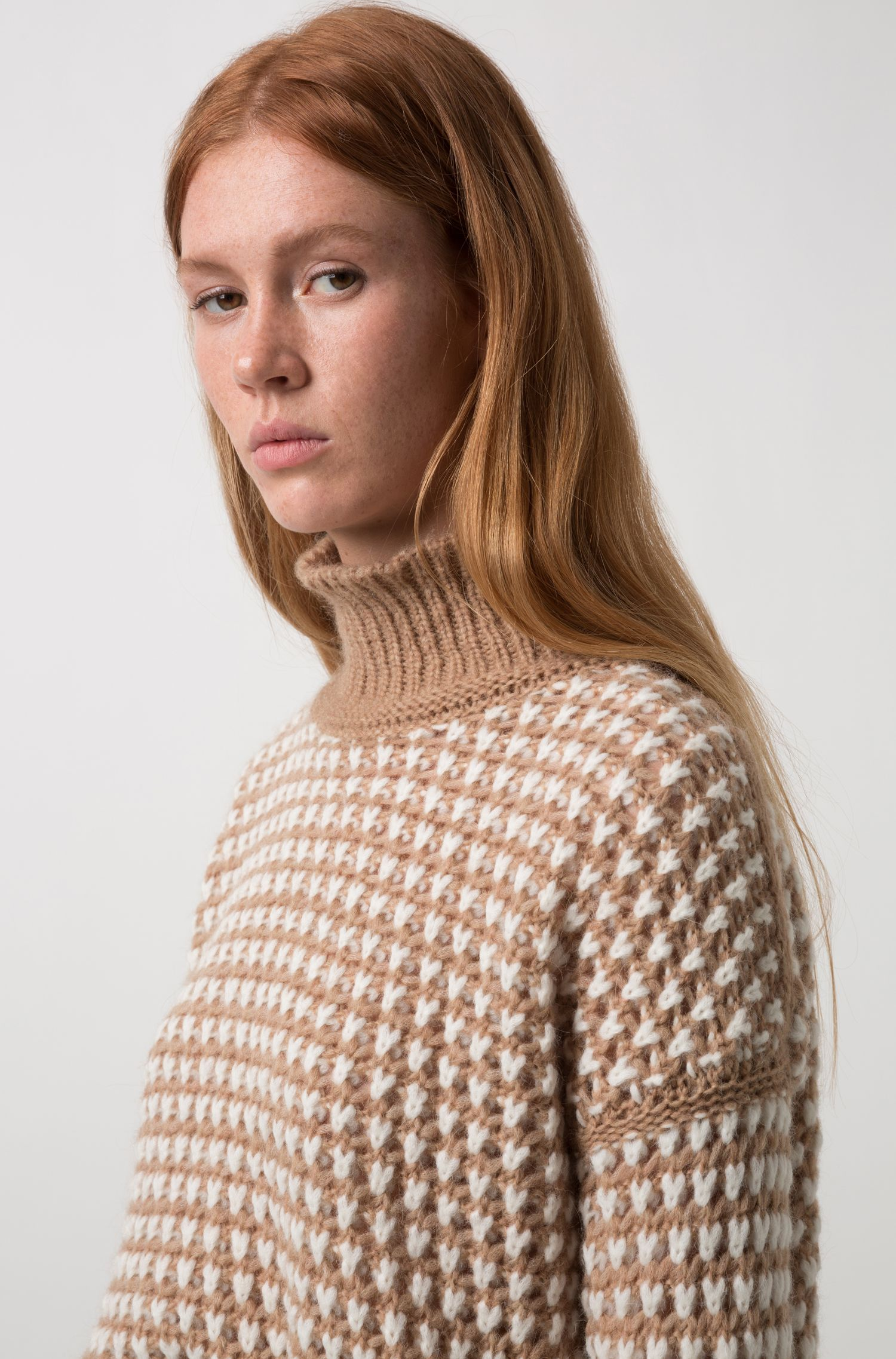 Pull raccourci Oversized Fit en maille bicolore, Fantaisie