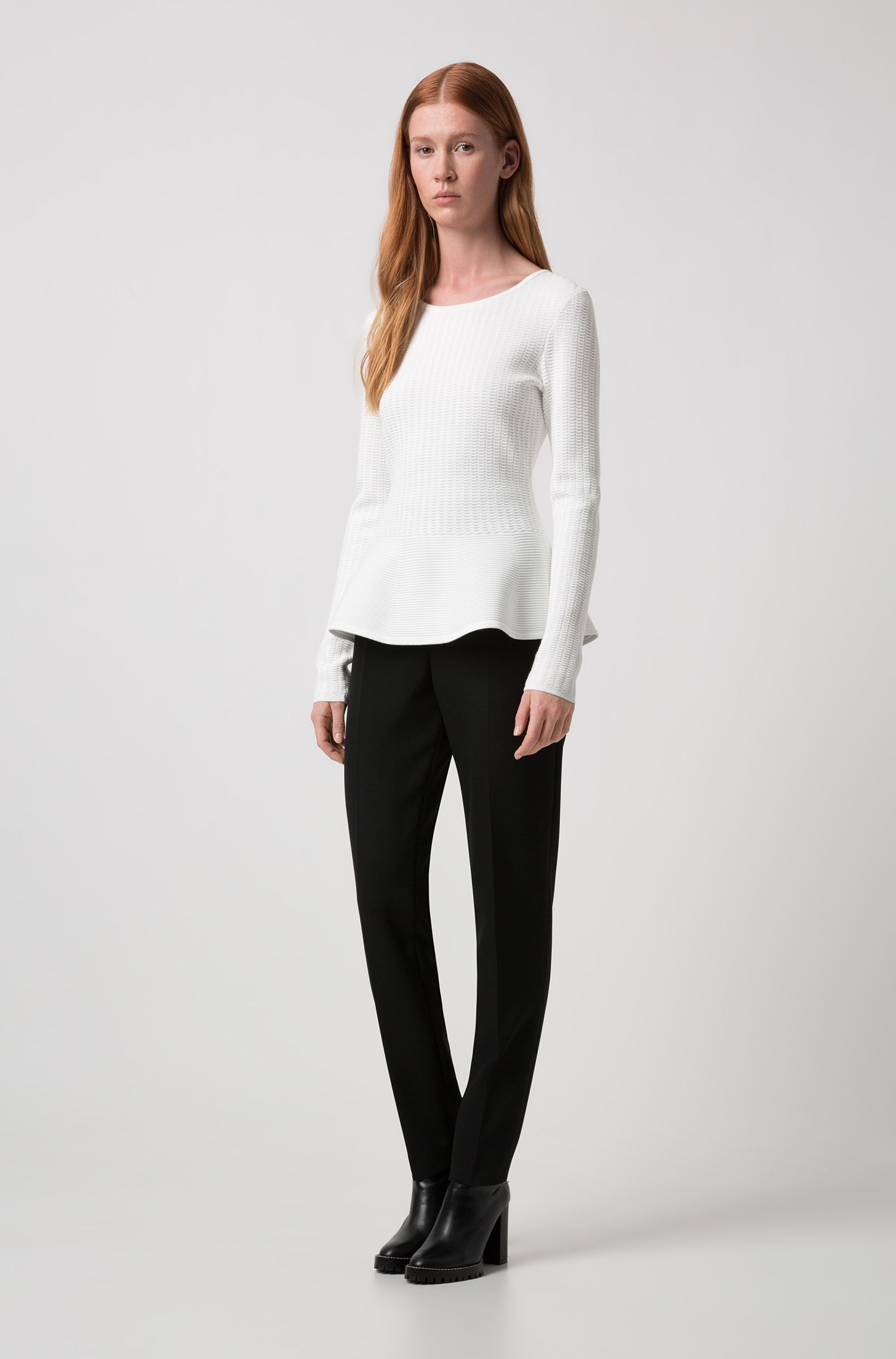Slim-fit sweater in knitted jacquard with peplum hem, Natural