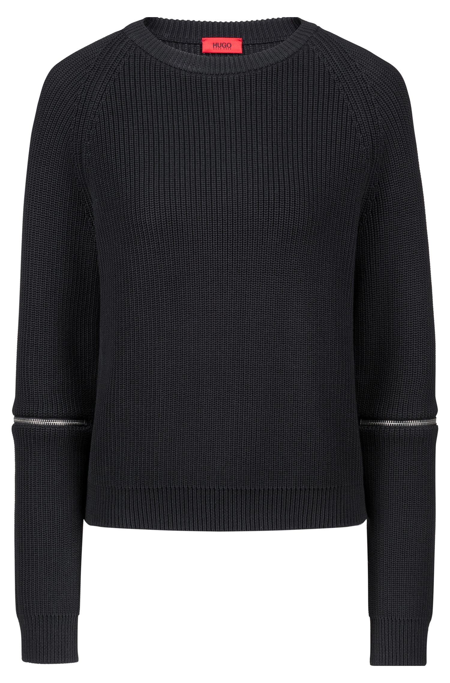 Cotton crew-neck sweater with zip detail, Black